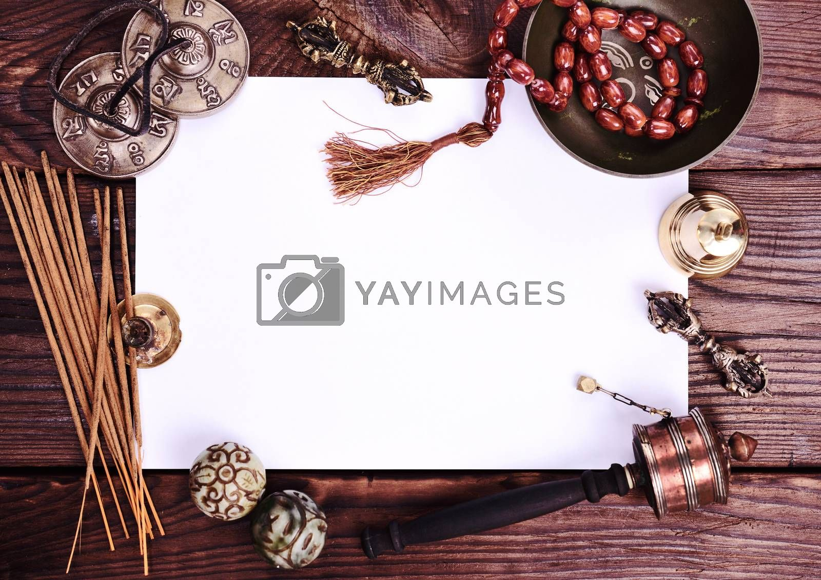 blank white sheet and antique religious objects  by ndanko