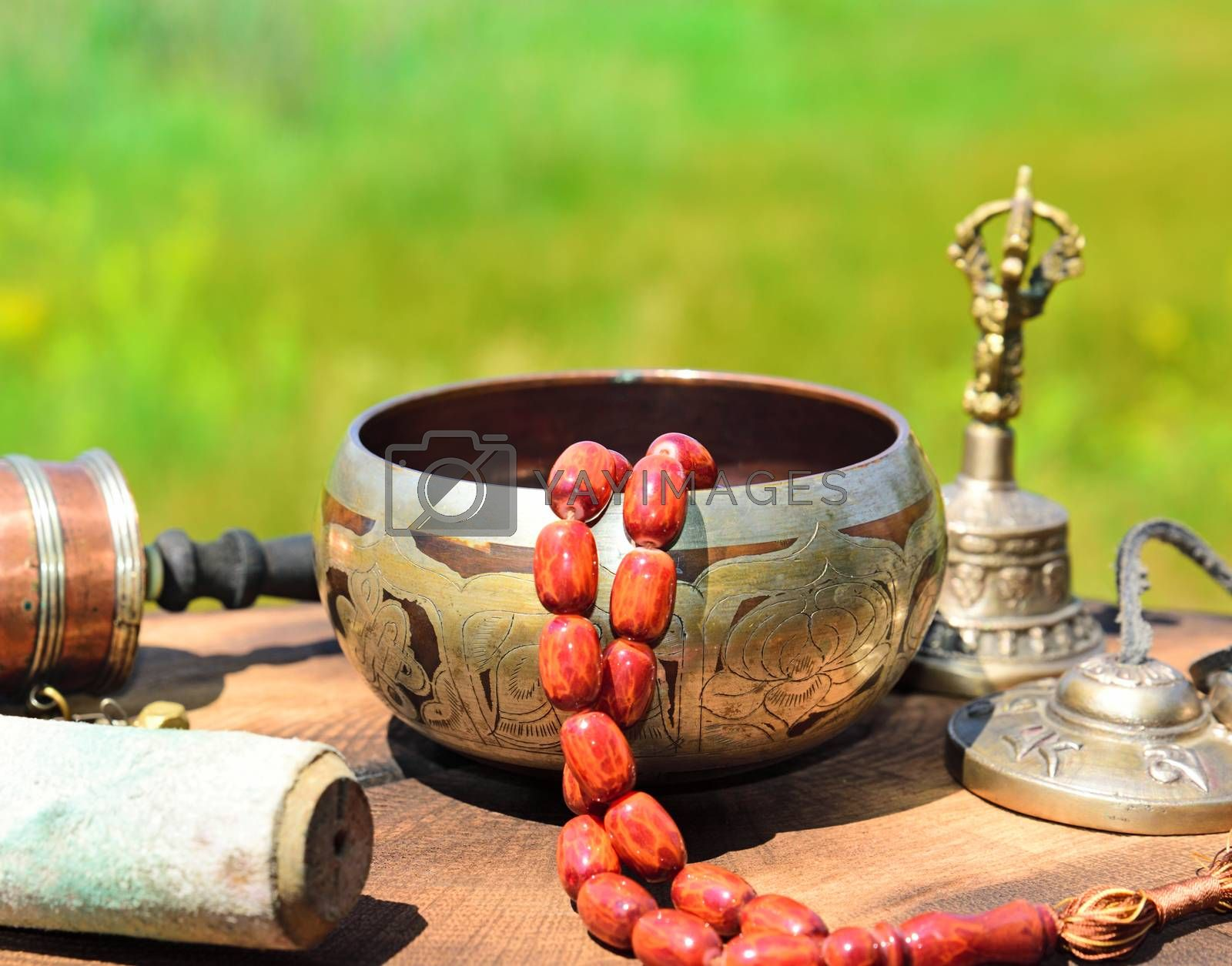singing bowl with stone rosary by ndanko
