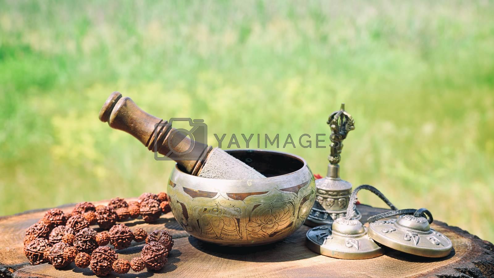bronze Tibetan singing bowl  by ndanko