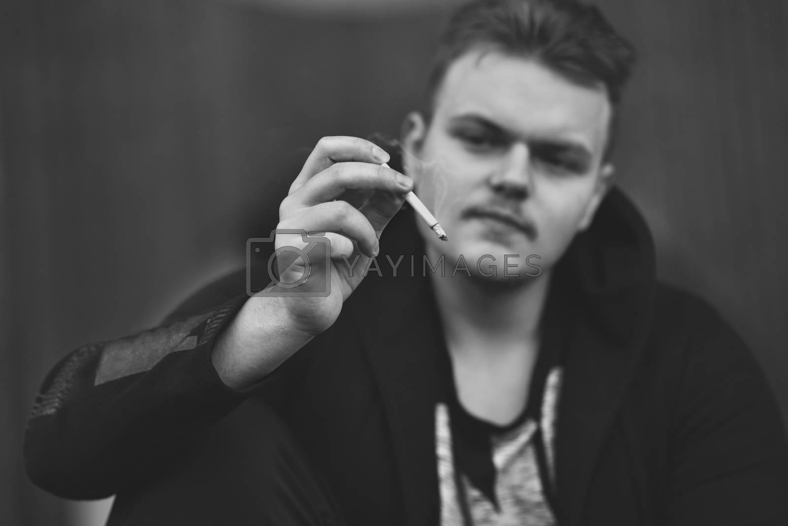Man smoking cigarette, Close up of an smoking cigarette