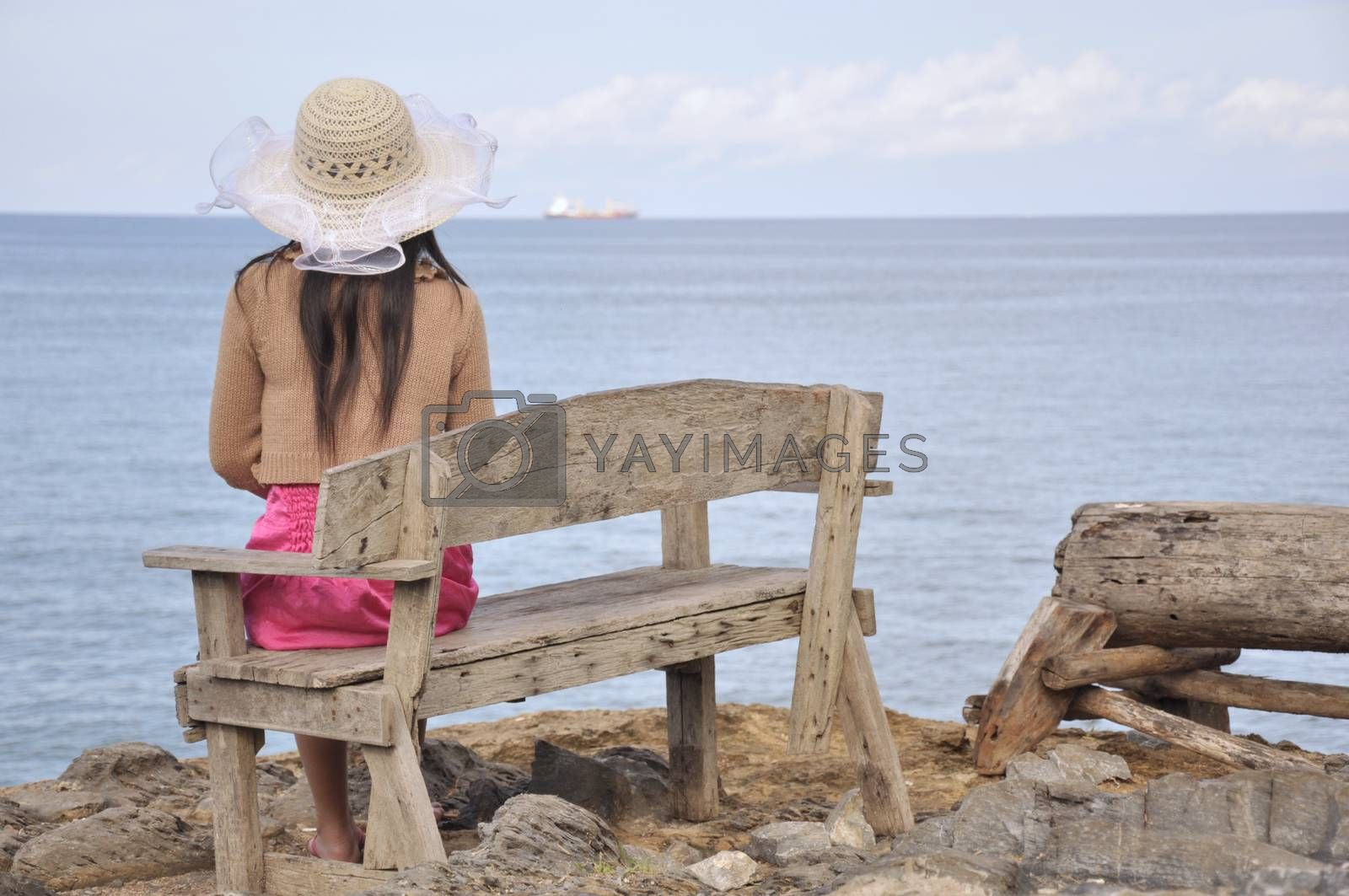 The back view of the girl wearing a pink dress looking at the sea,