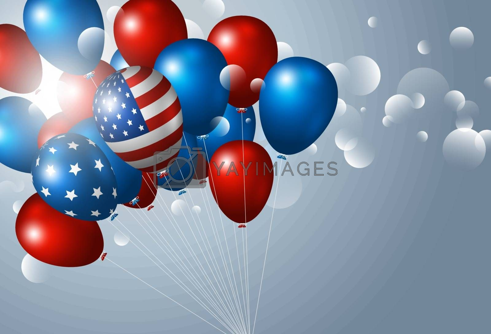 USA 4th of july independence day banner design of balloon with light bokeh vector illustration