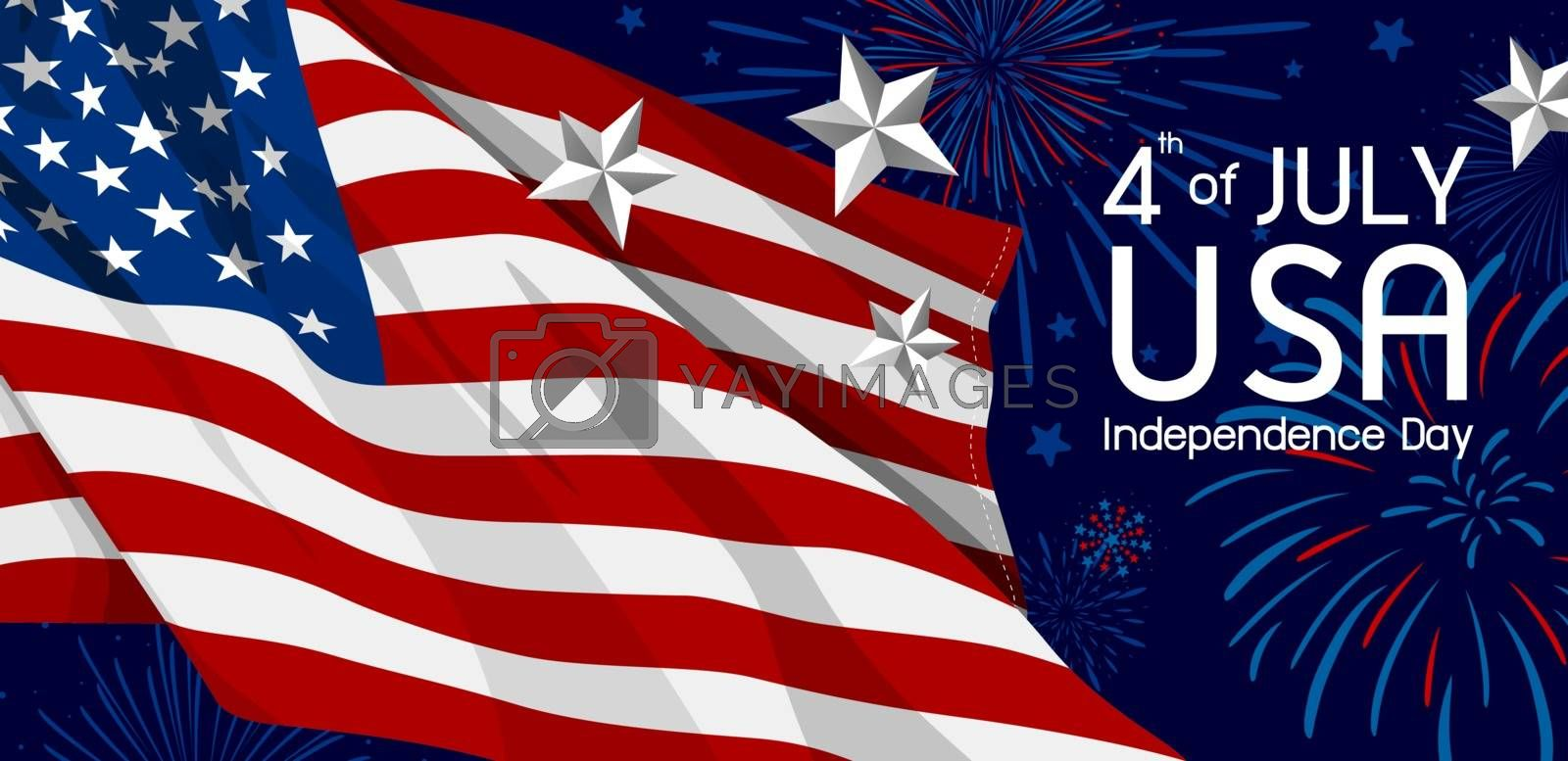 4th of july USA Independence day banner vector illustration