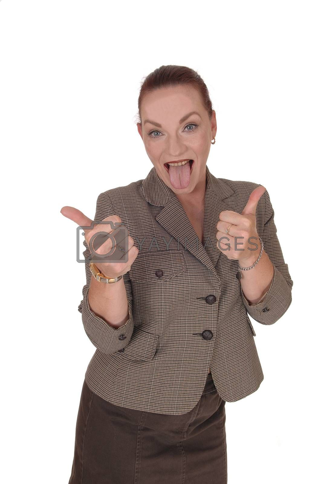 An happy businesswoman standing in a brown jacket gesturing thump up and approving, isolated for white background