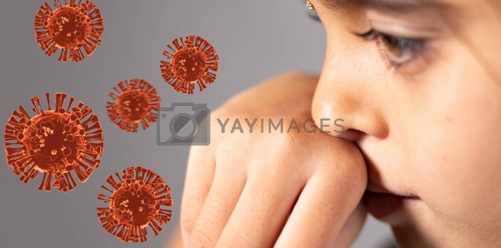 Extreme close up of child touch's her Nose - concept showing to prevent and Avoid touching your Nose. Protect from COVID-19 or coronavirus spreading or outbreak - with 3d rendered virus.