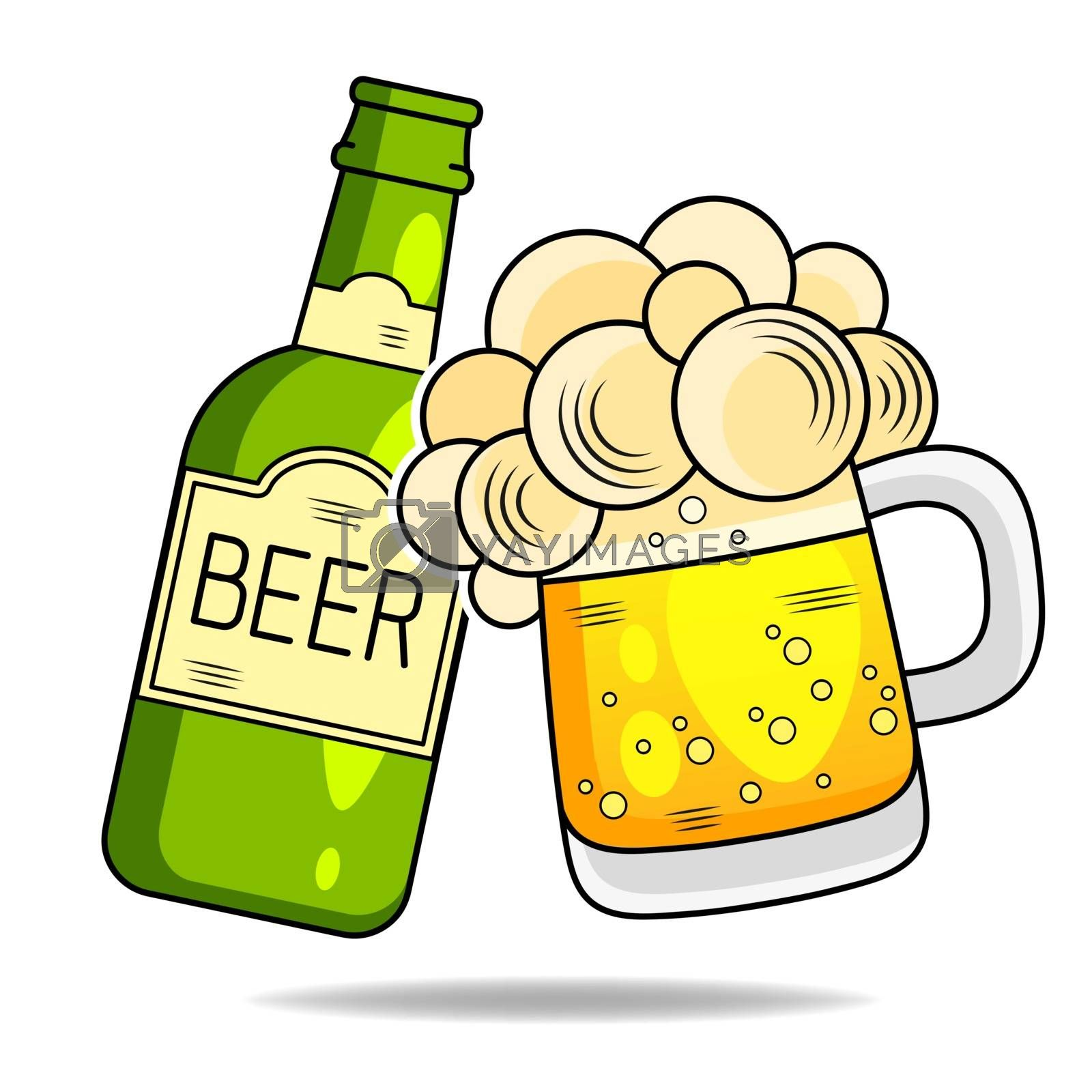 Beer Icon Thin Line For Web And Mobile, Modern Minimalistic Flat Design. Vector Illustration Suitable For Greeting Card, Poster Or T-shirt Printing.