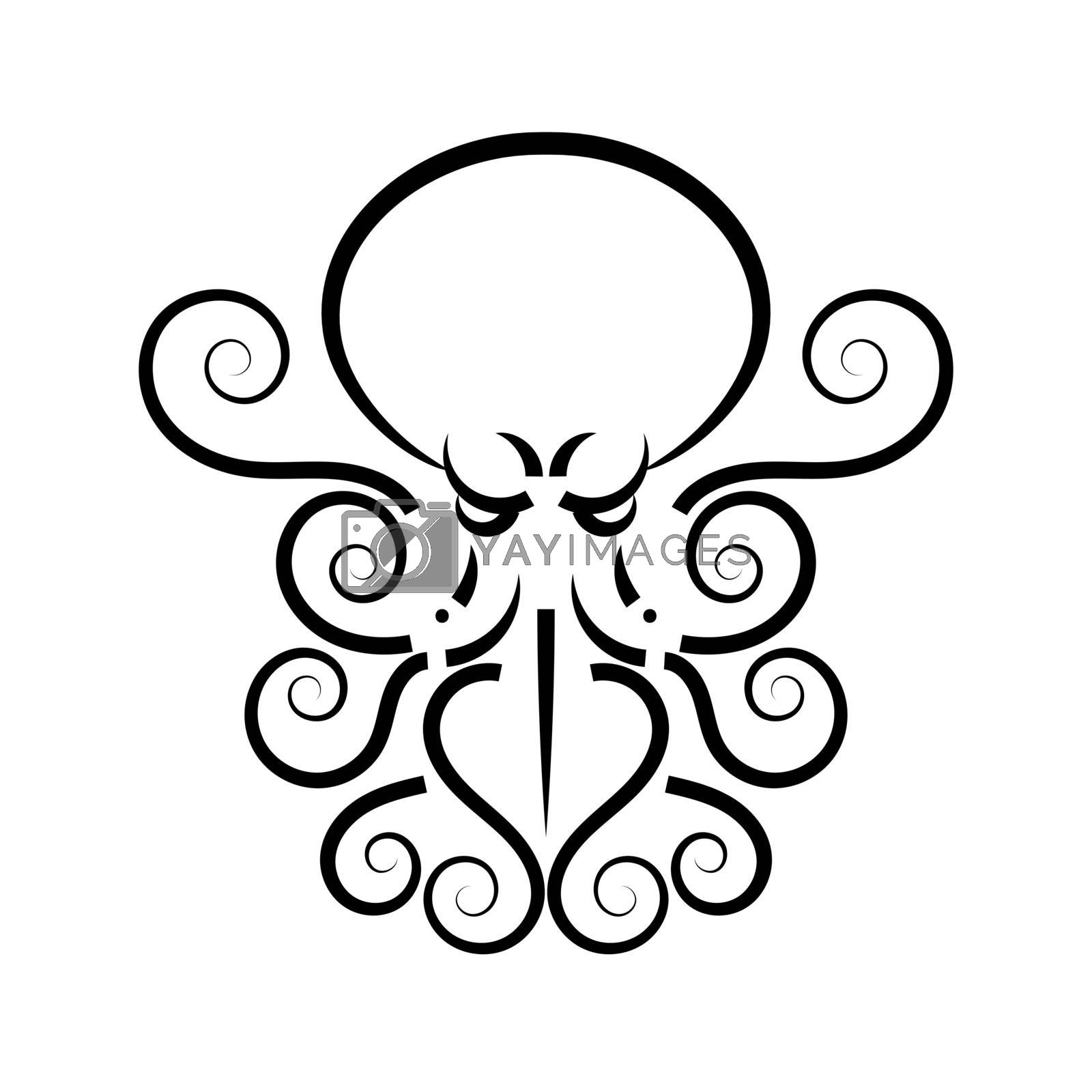 Octopus. Vector black engraving vintage illustrations. Isolated on white background.