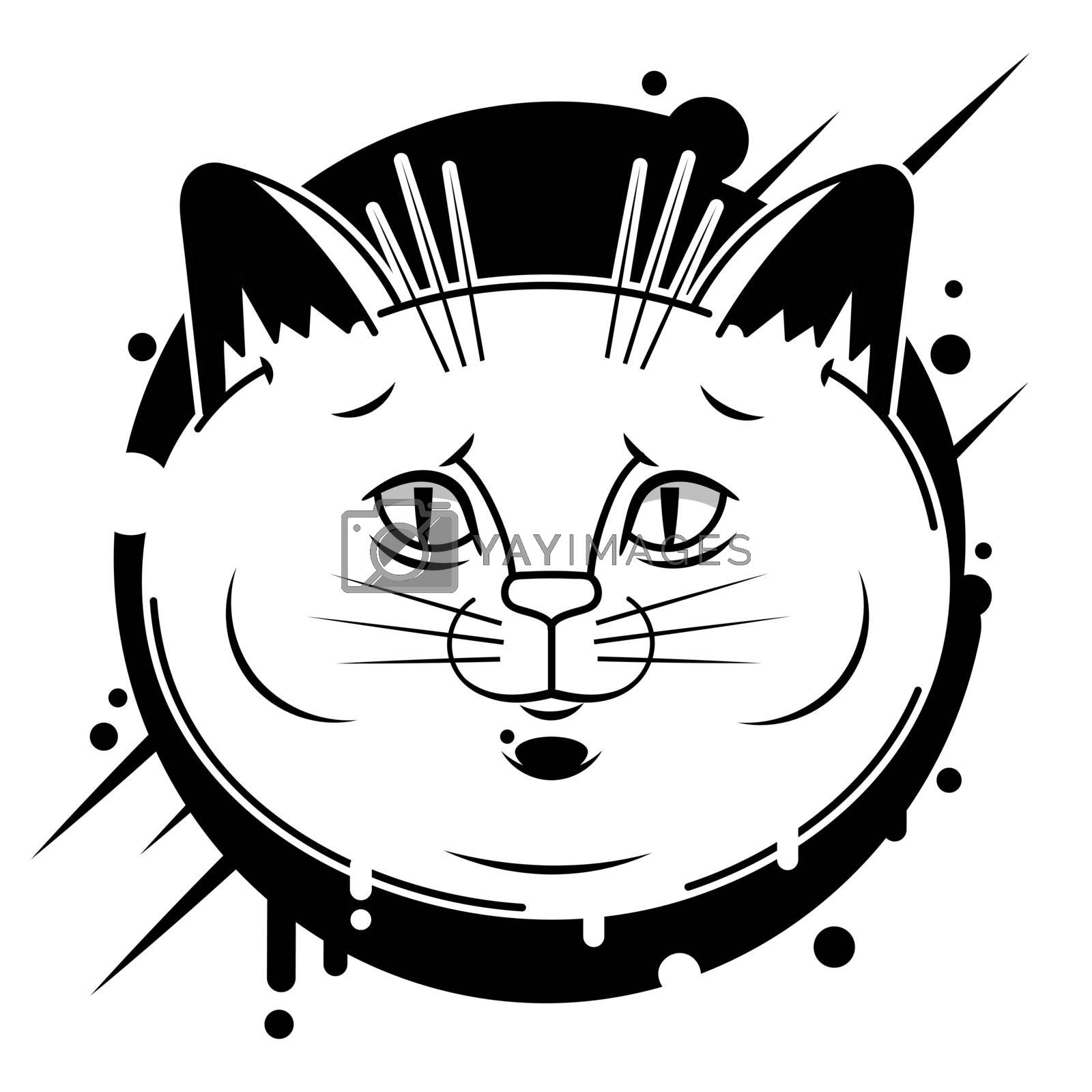 Black head of Cat background. Vector illustration. Cute icon. Animal silhouette.