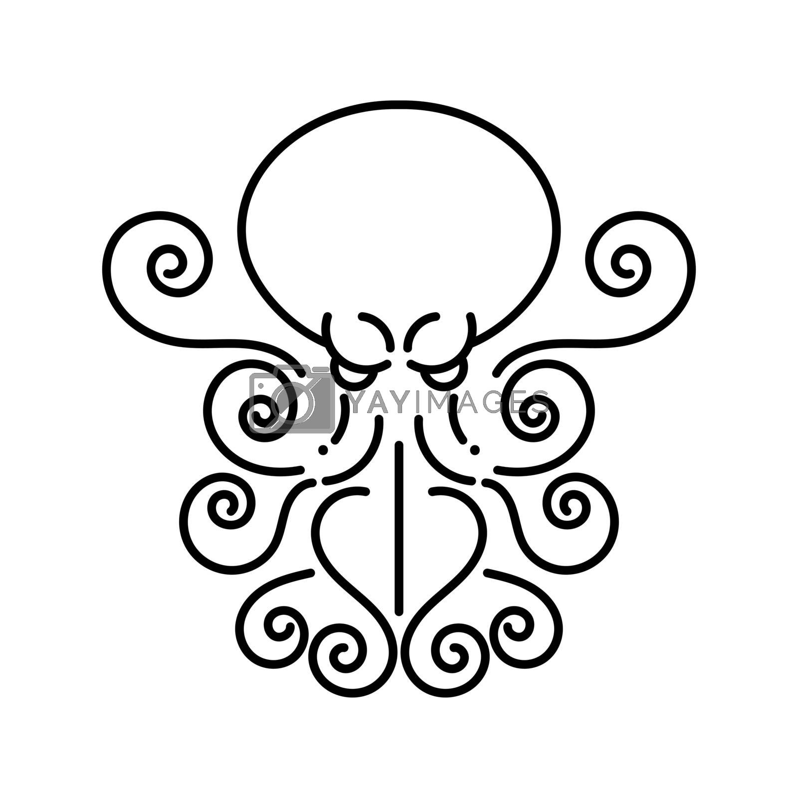 Octopus - Hand Drawn Sea Monster On White Background. Logo Design For Company.