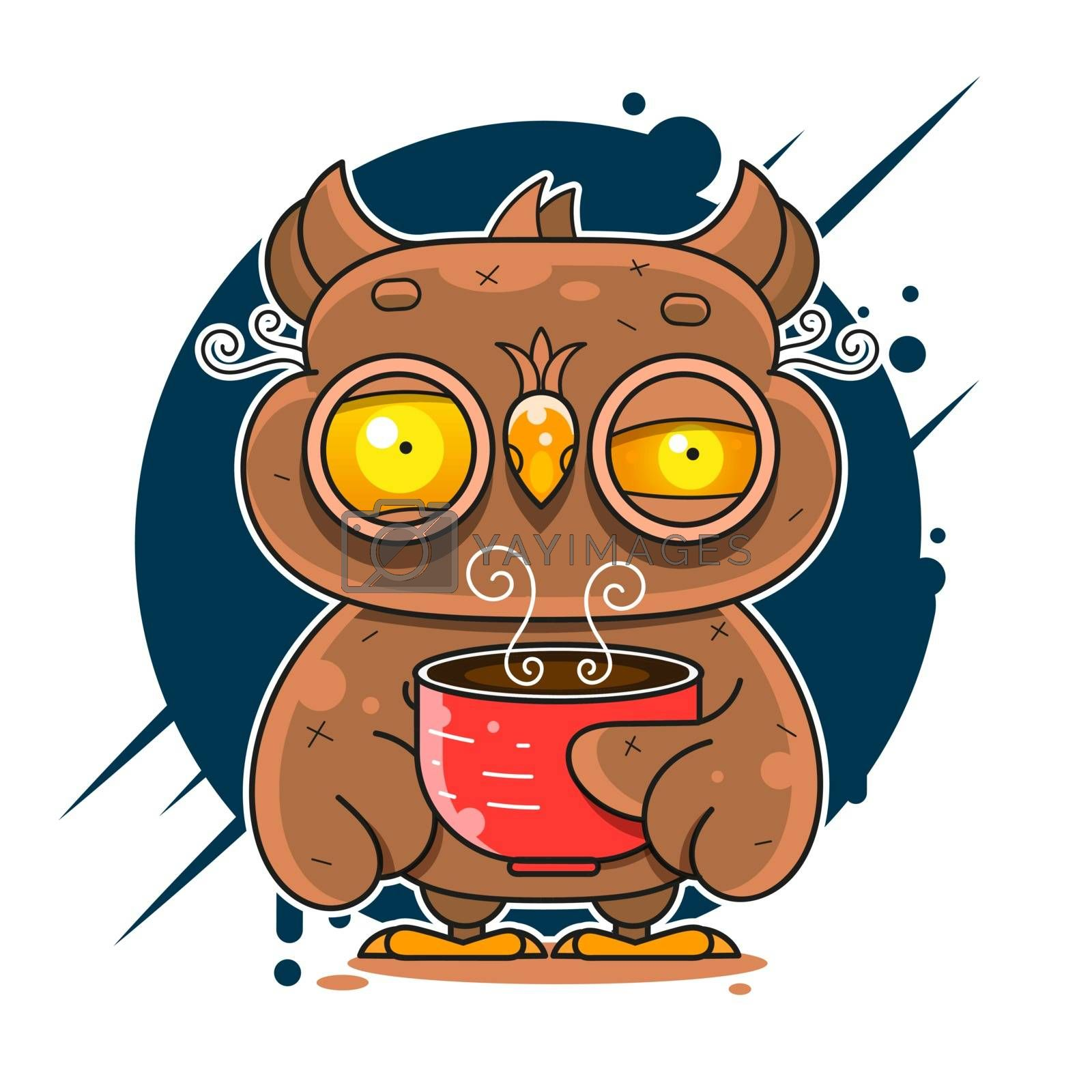 Owl Drinking Coffee And Can't Sleep Vector Flat Style Illustration Suitable For Greeting Card, Poster Or T-shirt Printing.