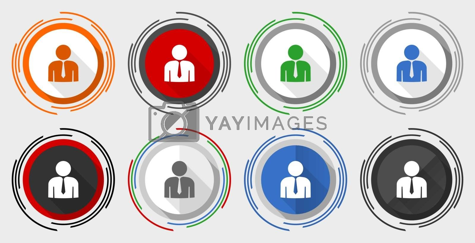 Man vector icon set, businessman, male modern design flat graphic in 8 options for web design and mobile applications