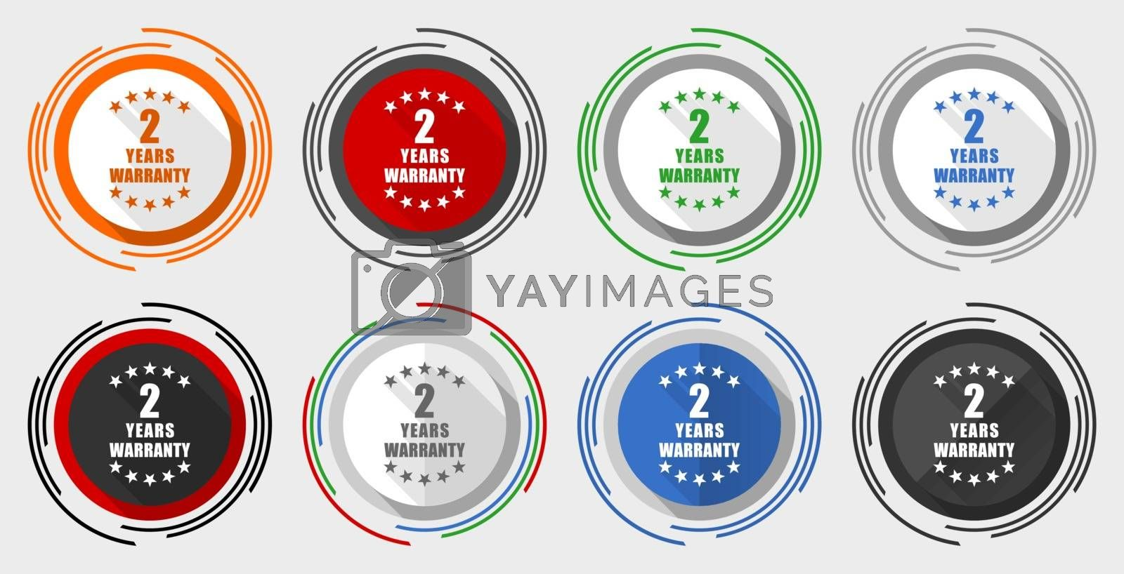 Warranty guarantee 2 year vector icon set, modern design flat graphic in 8 options for web design and mobile applications