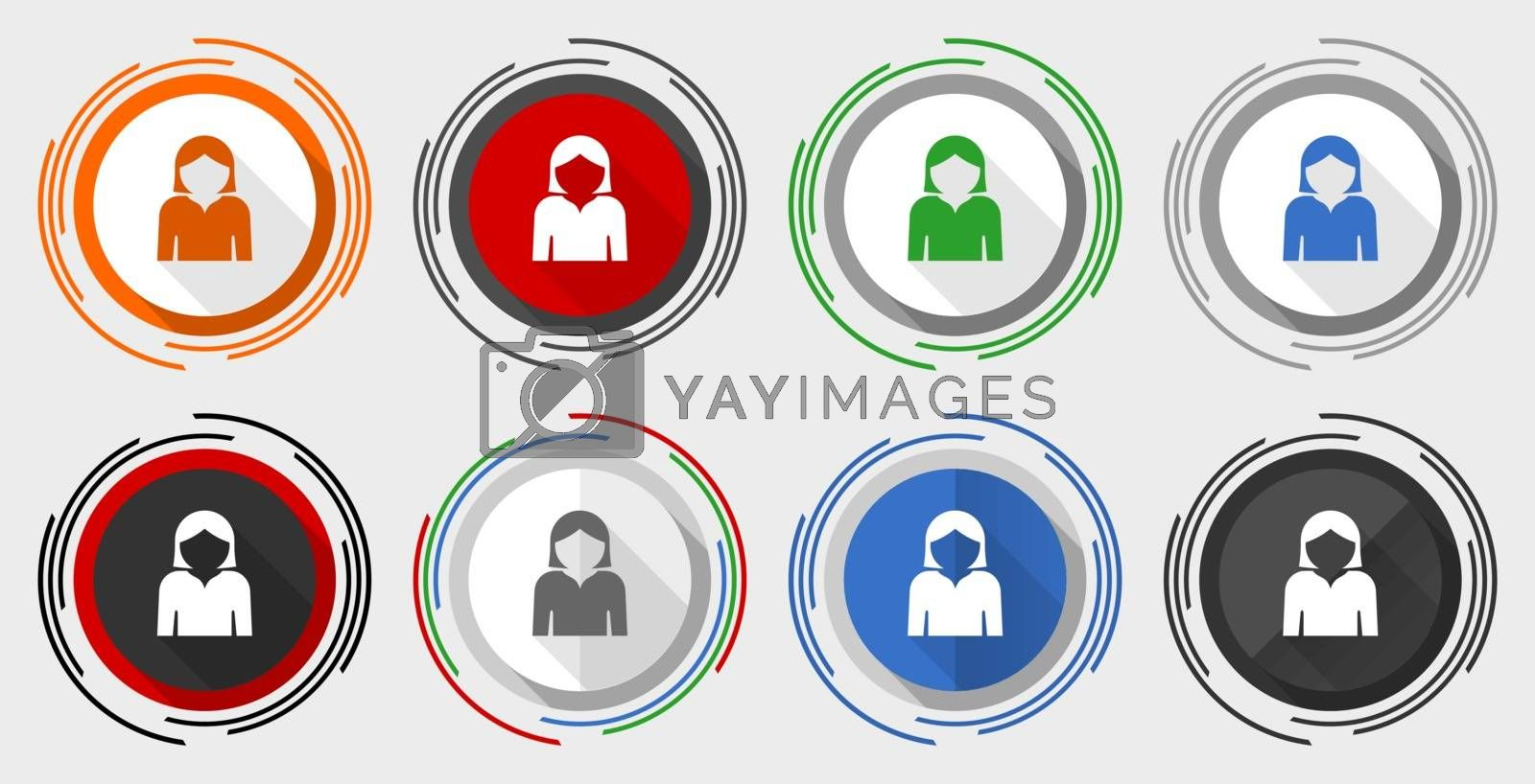 Profile avatar vector icon set, modern design flat graphic in 8 options for web design and mobile applications