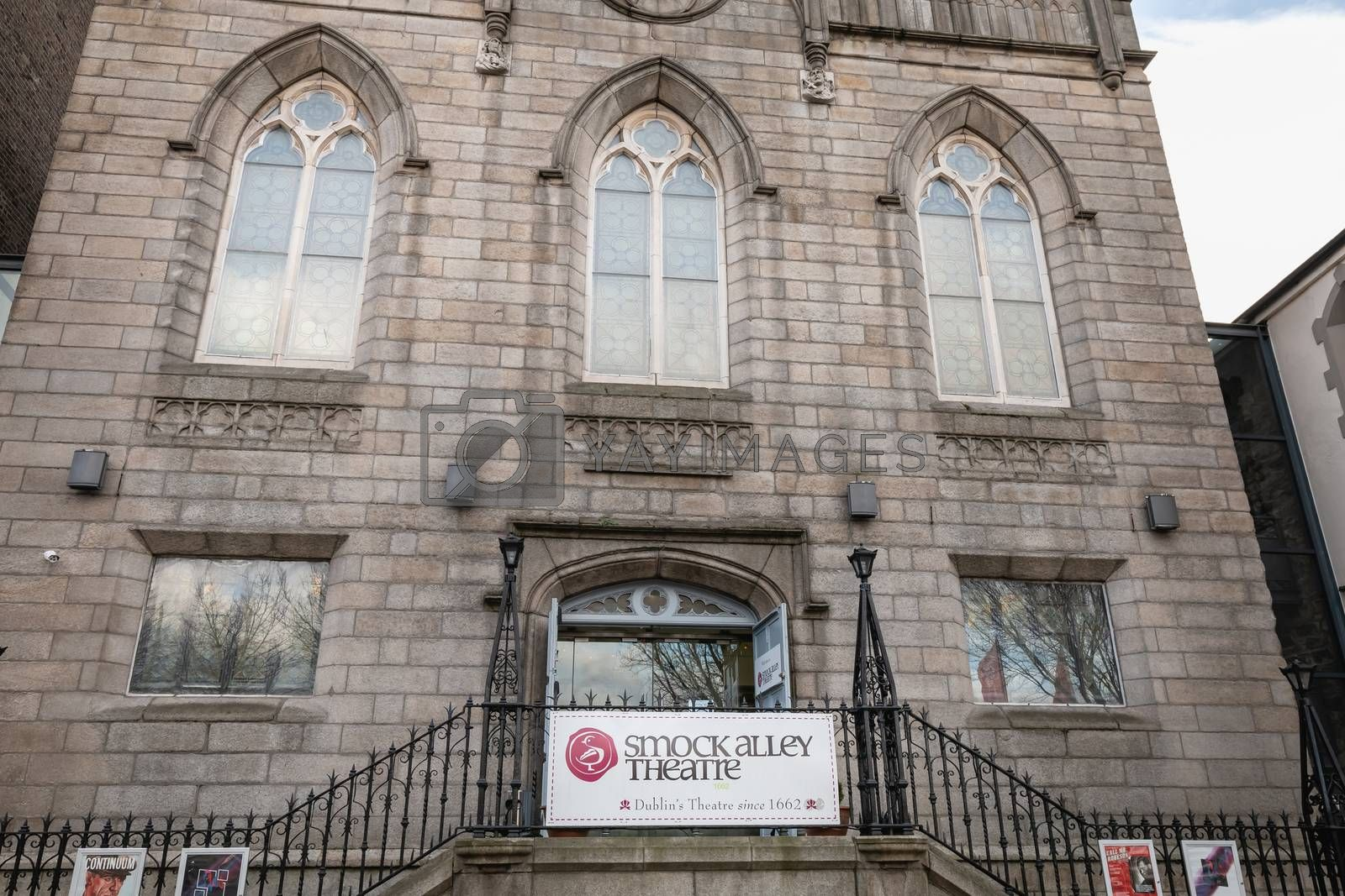 Dublin, Ireland - February 16, 2019: Facade of the Smock Alley Theater in the city center on a winter day