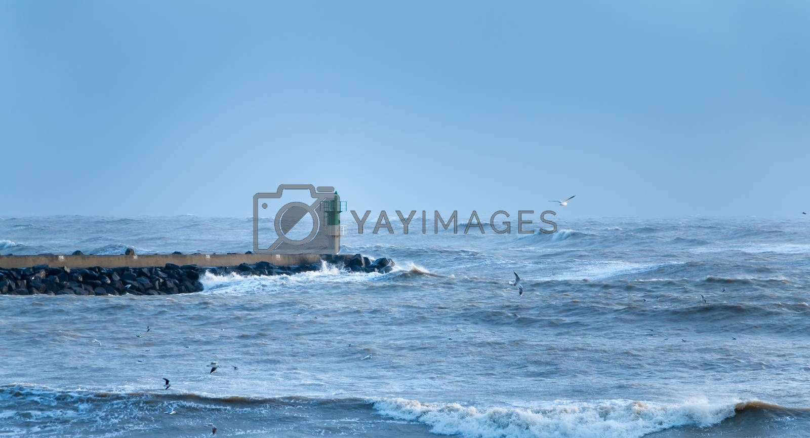 Big storm on the port of Saint Gilles Croix de Vie, France