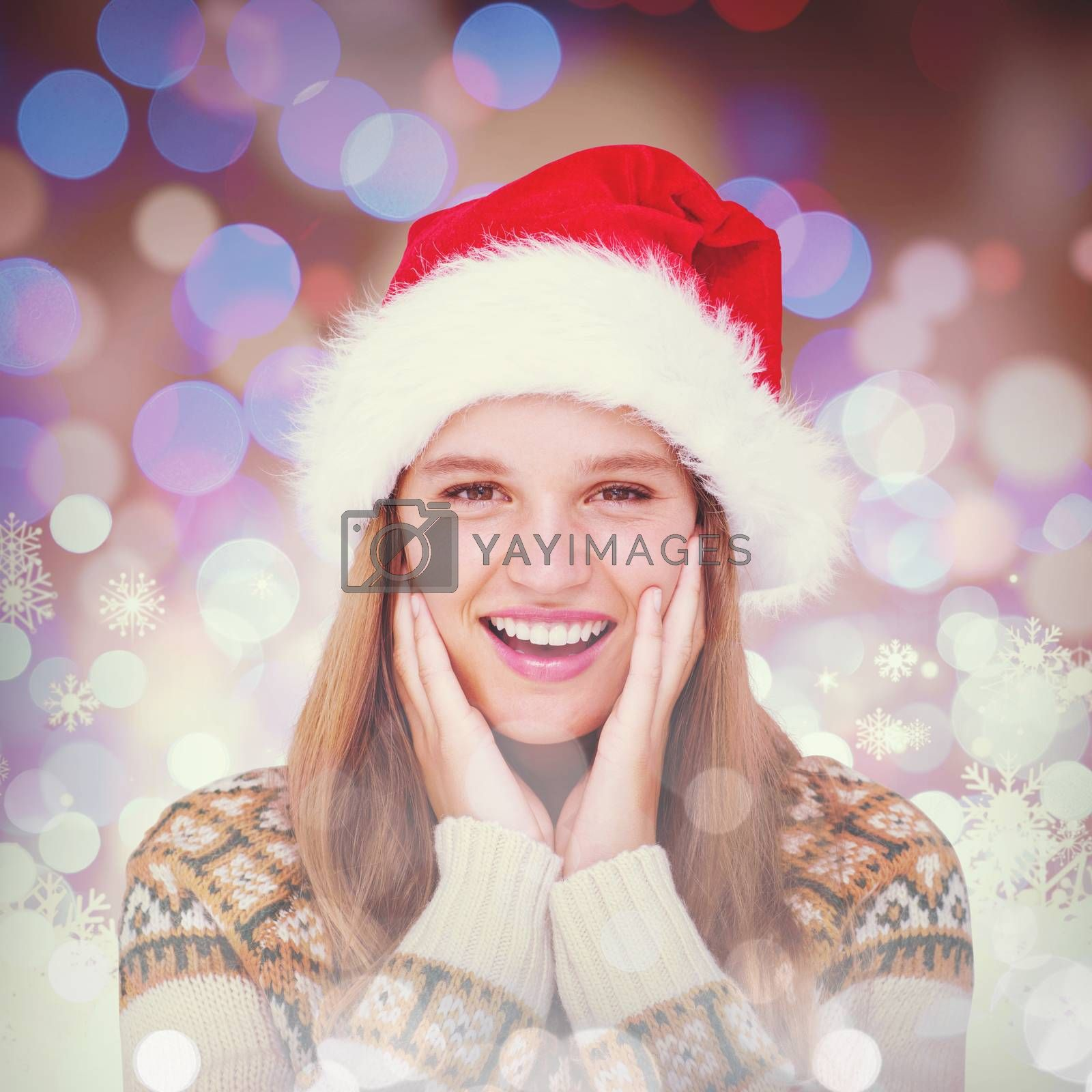 Happy hipster smiling at camera  against snowflake pattern