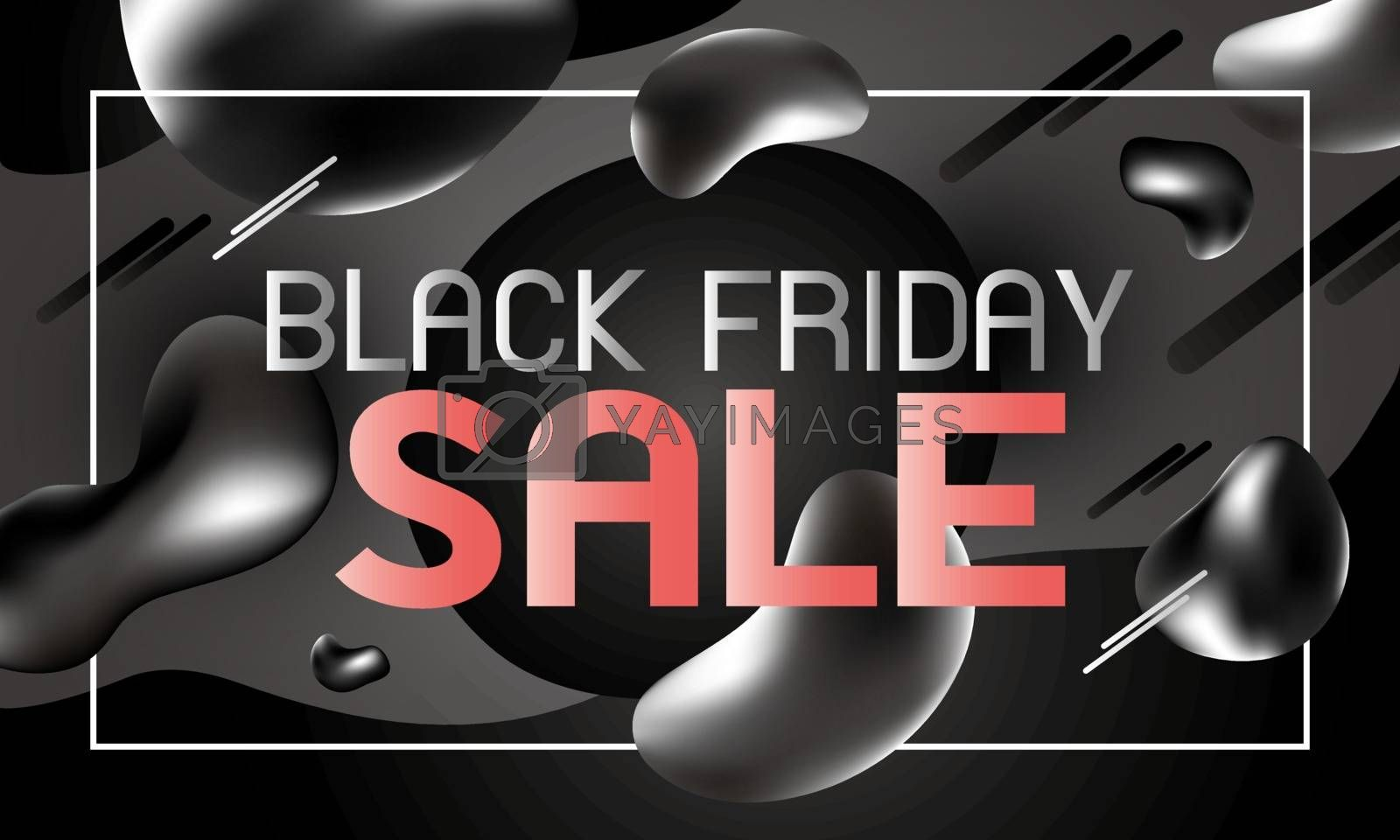Black friday sale banner design of liquid effect background vector illustration