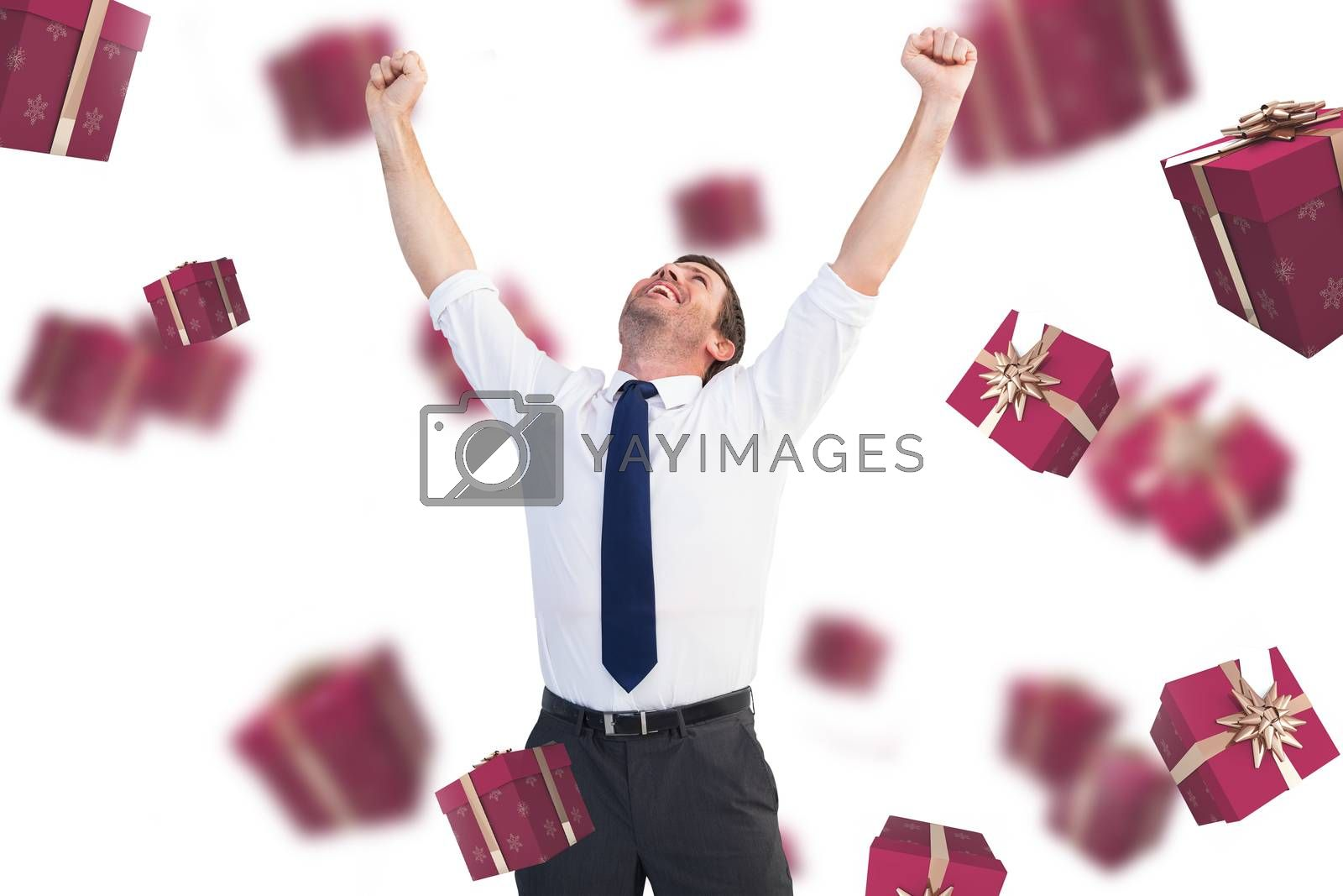 Composite image of cheering businessman by Wavebreakmedia