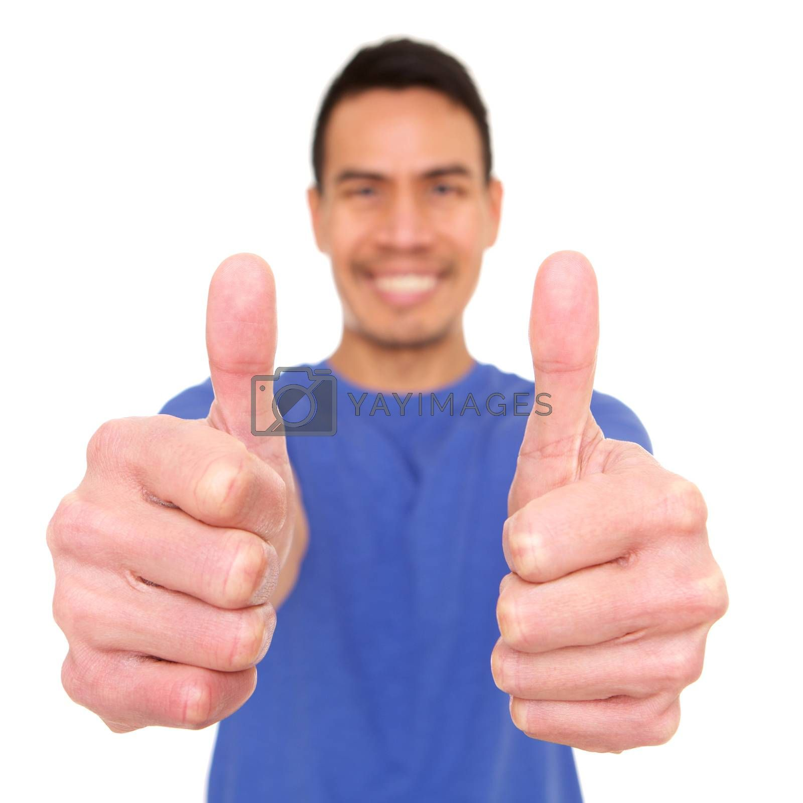 Smiling mature asian man giving thumbs up by mimagephotography