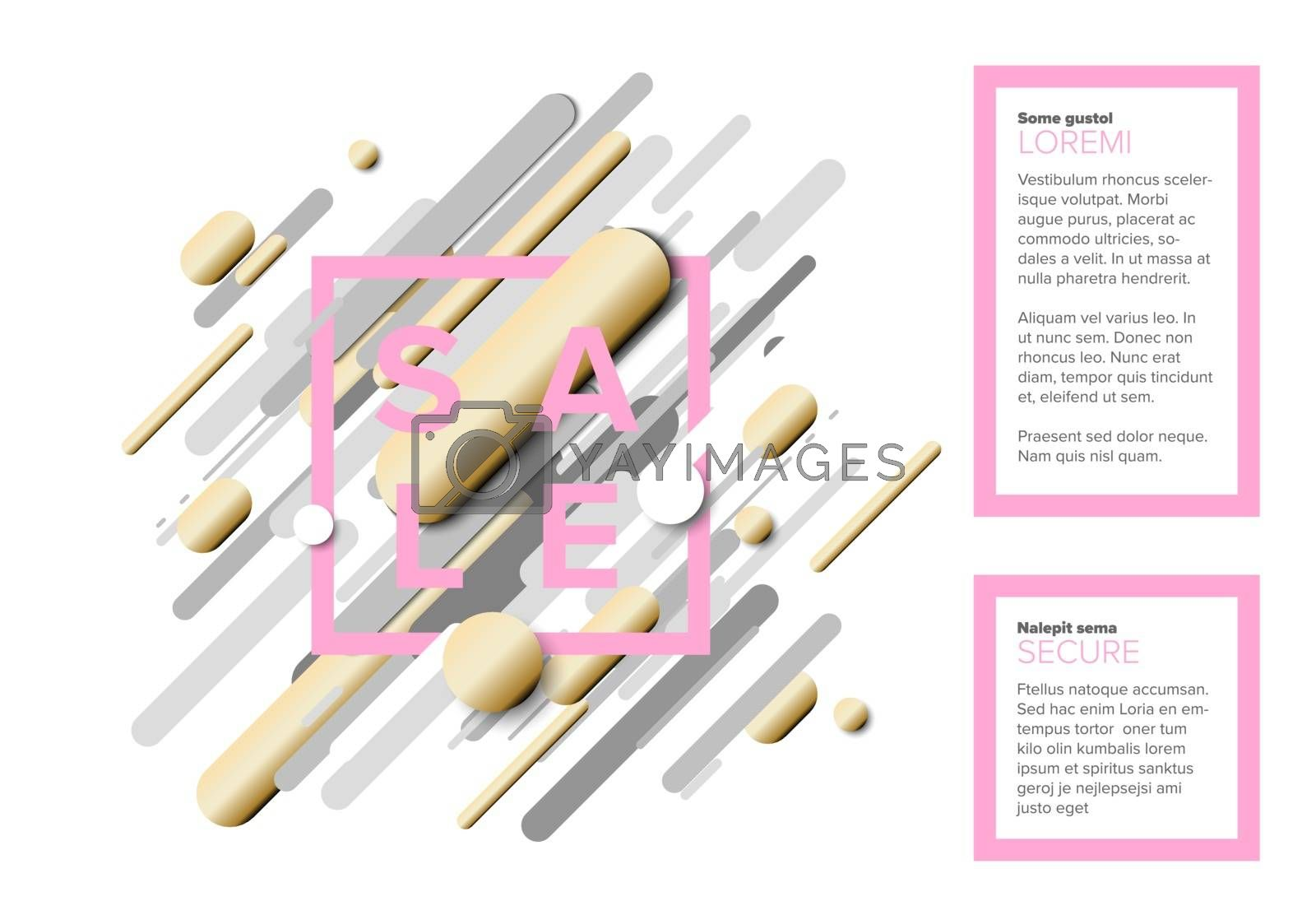 Vector futuristic black friday sale flyer made from big gray, pink and golden lines - light version