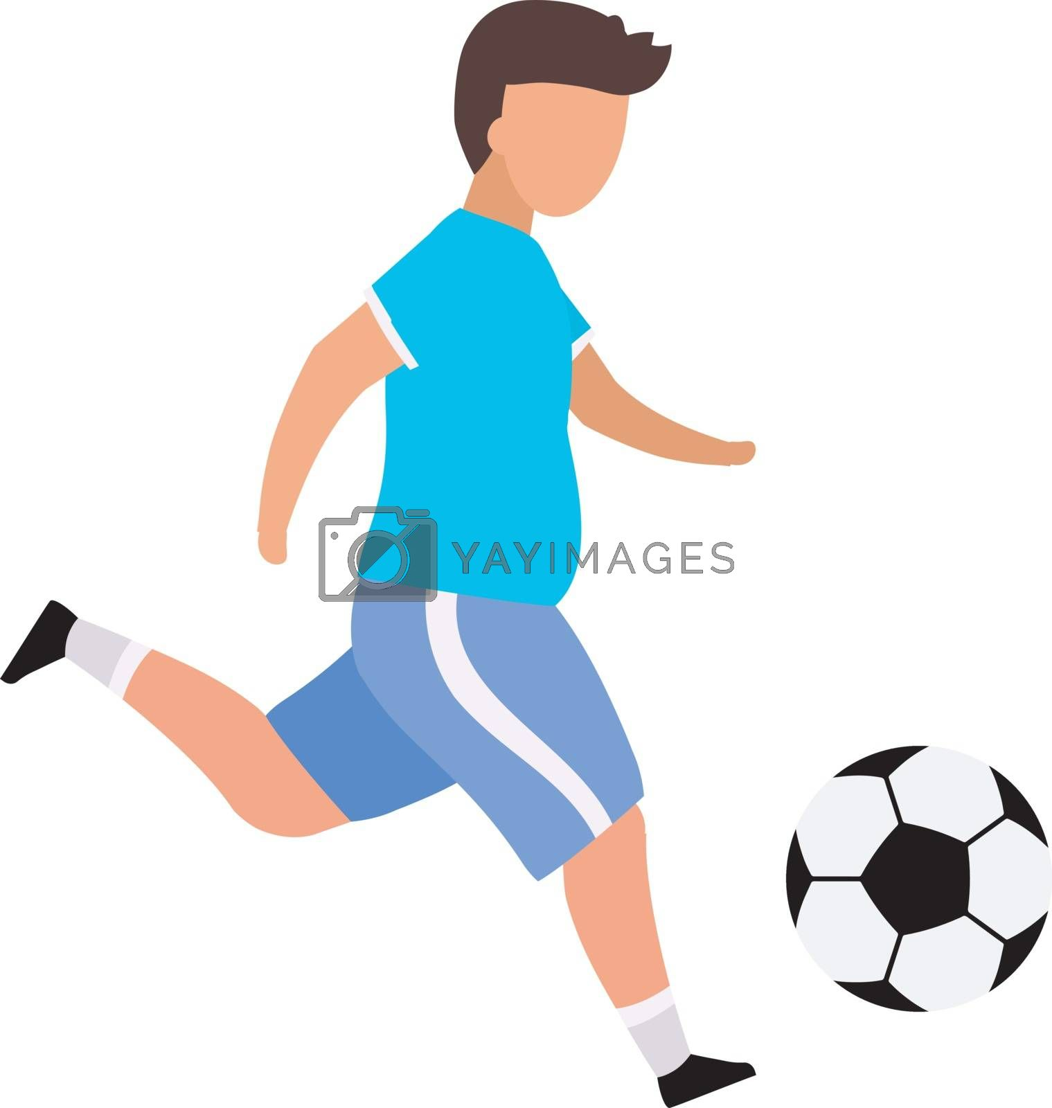 Boy playing football flat vector illustration. Obese teenager doing sports to lose weight isolated cartoon character on white background. Children outdoor activities, hobby, leisure time idea