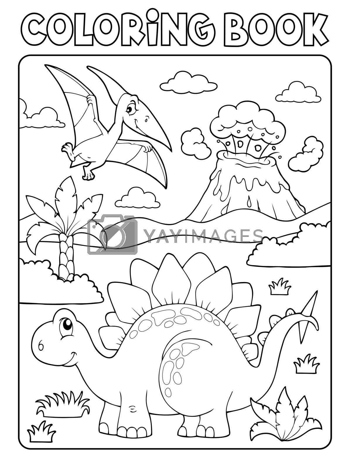 Coloring book dinosaur composition image 1 - eps10 vector illustration.