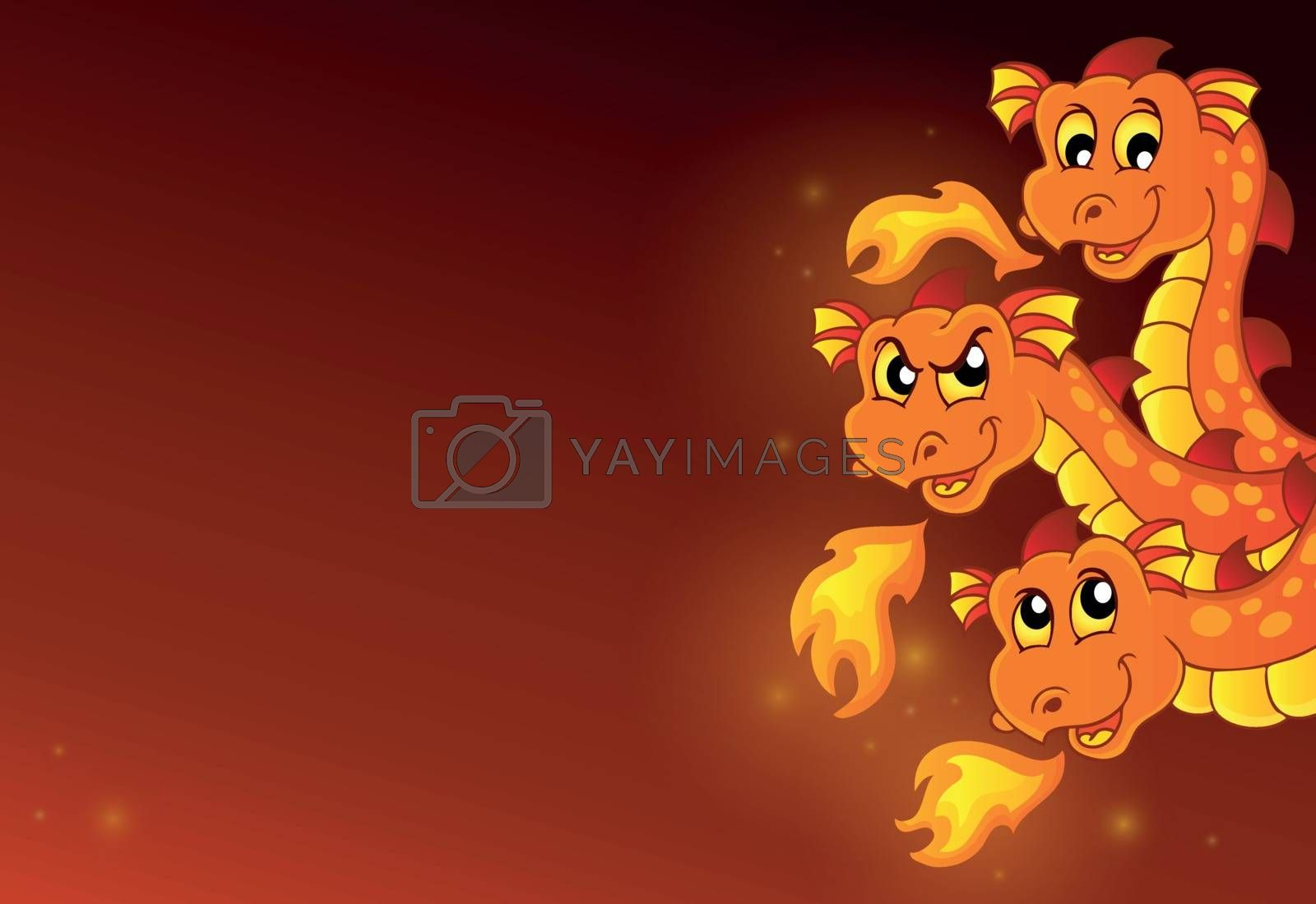 Lurking dragon heads composition 1 - eps10 vector illustration.