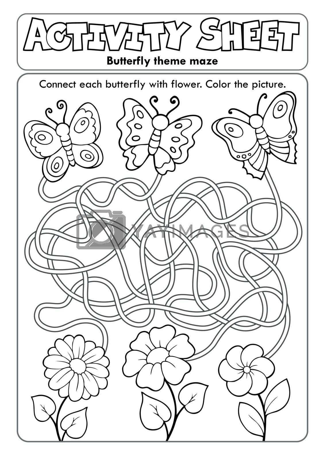 Activity sheet butterfly theme maze - eps10 vector illustration.