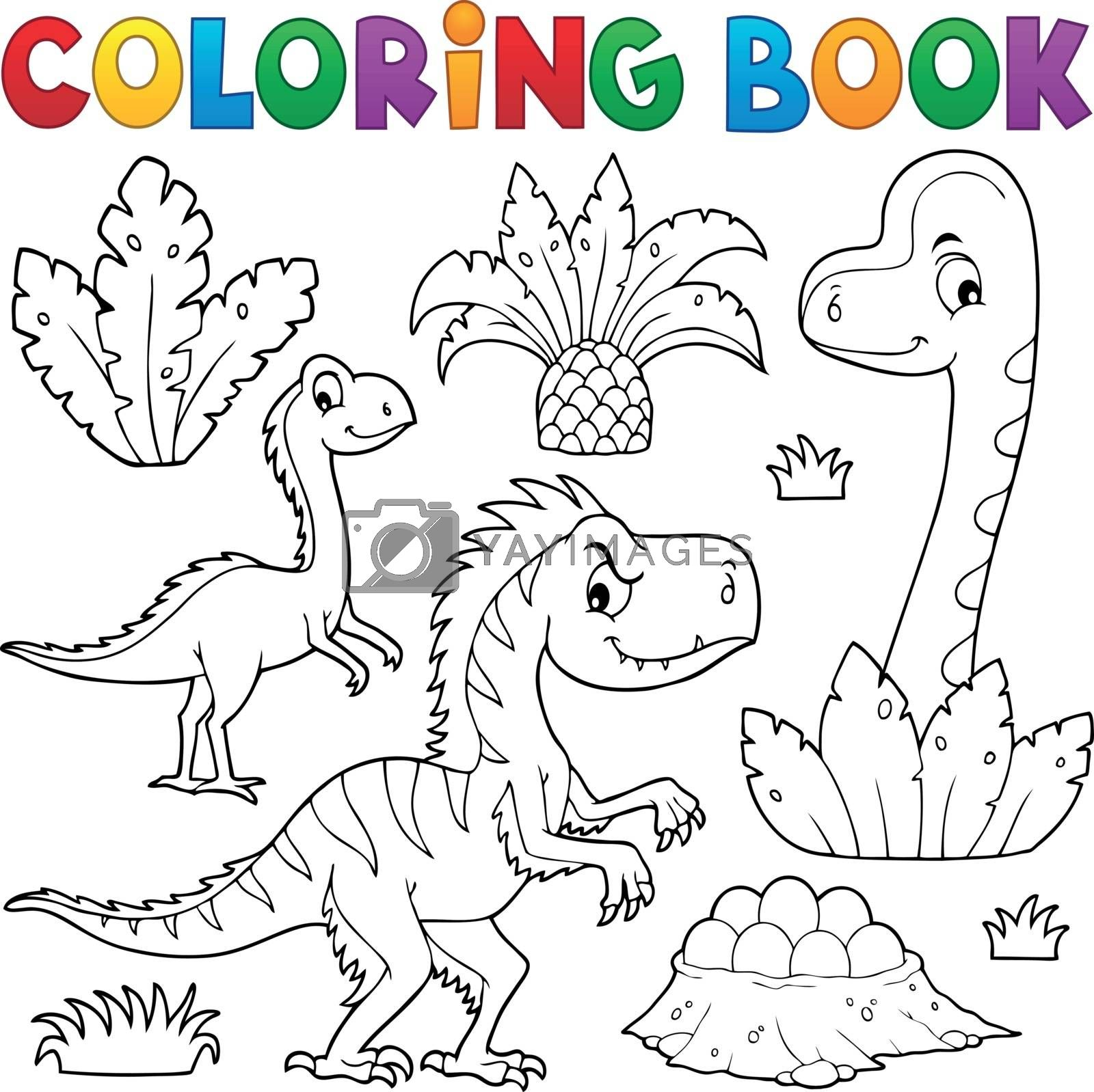 Coloring book dinosaur composition image 3 - eps10 vector illustration.