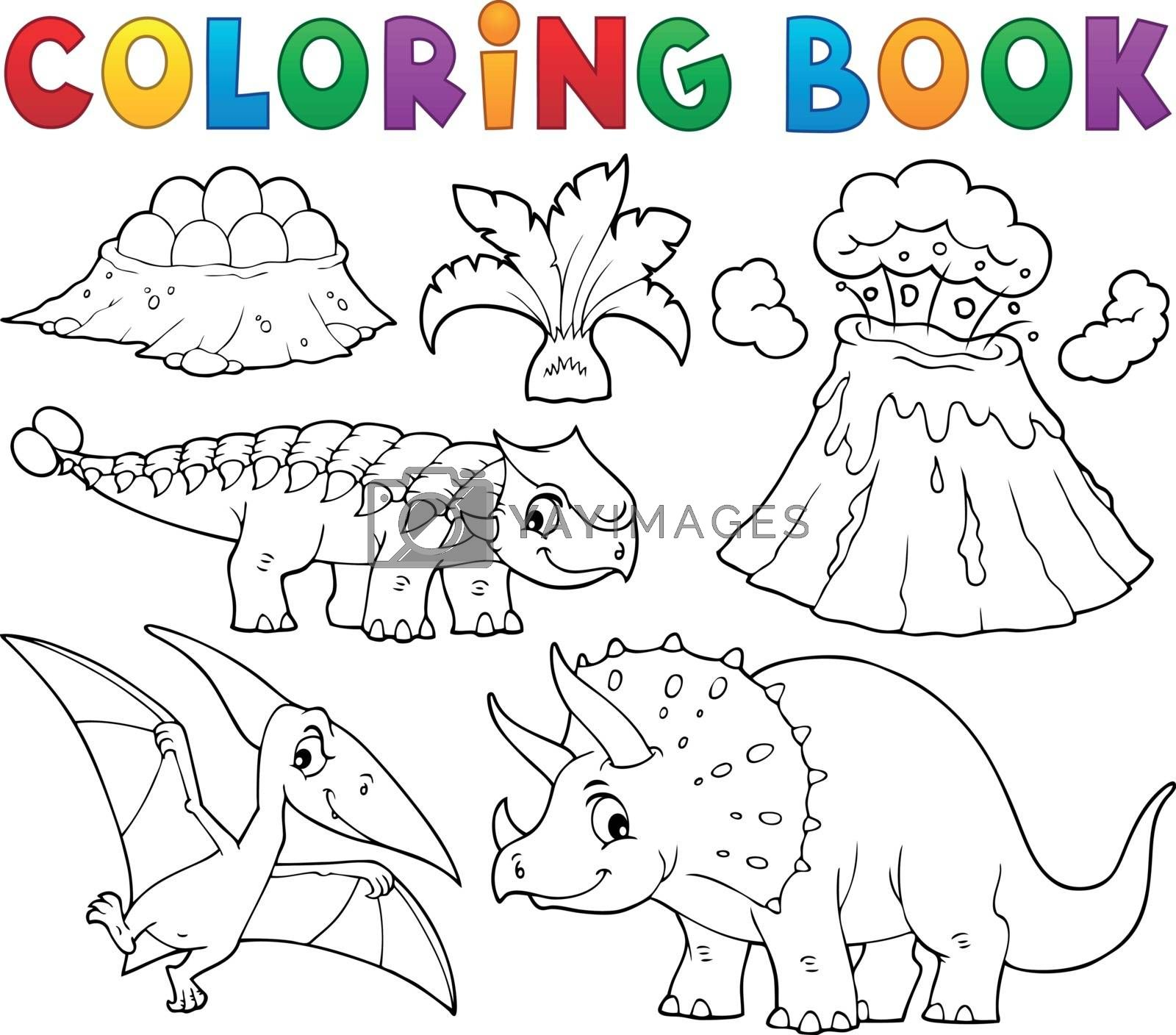 Coloring book dinosaur subject image 5 - eps10 vector illustration.