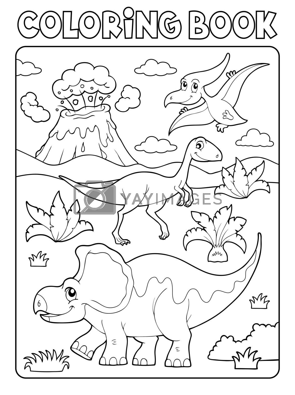 Coloring book dinosaur composition image 2 - eps10 vector illustration.