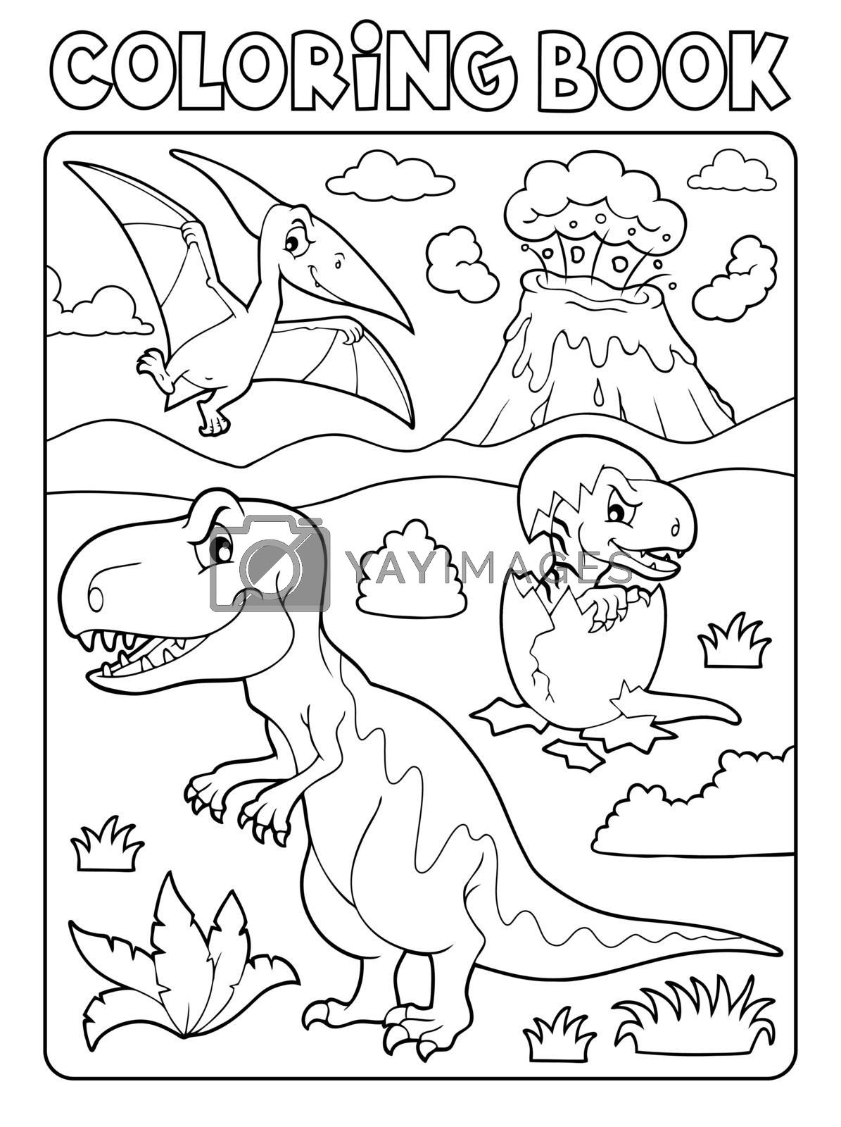 Coloring book dinosaur subject image 9 - eps10 vector illustration.