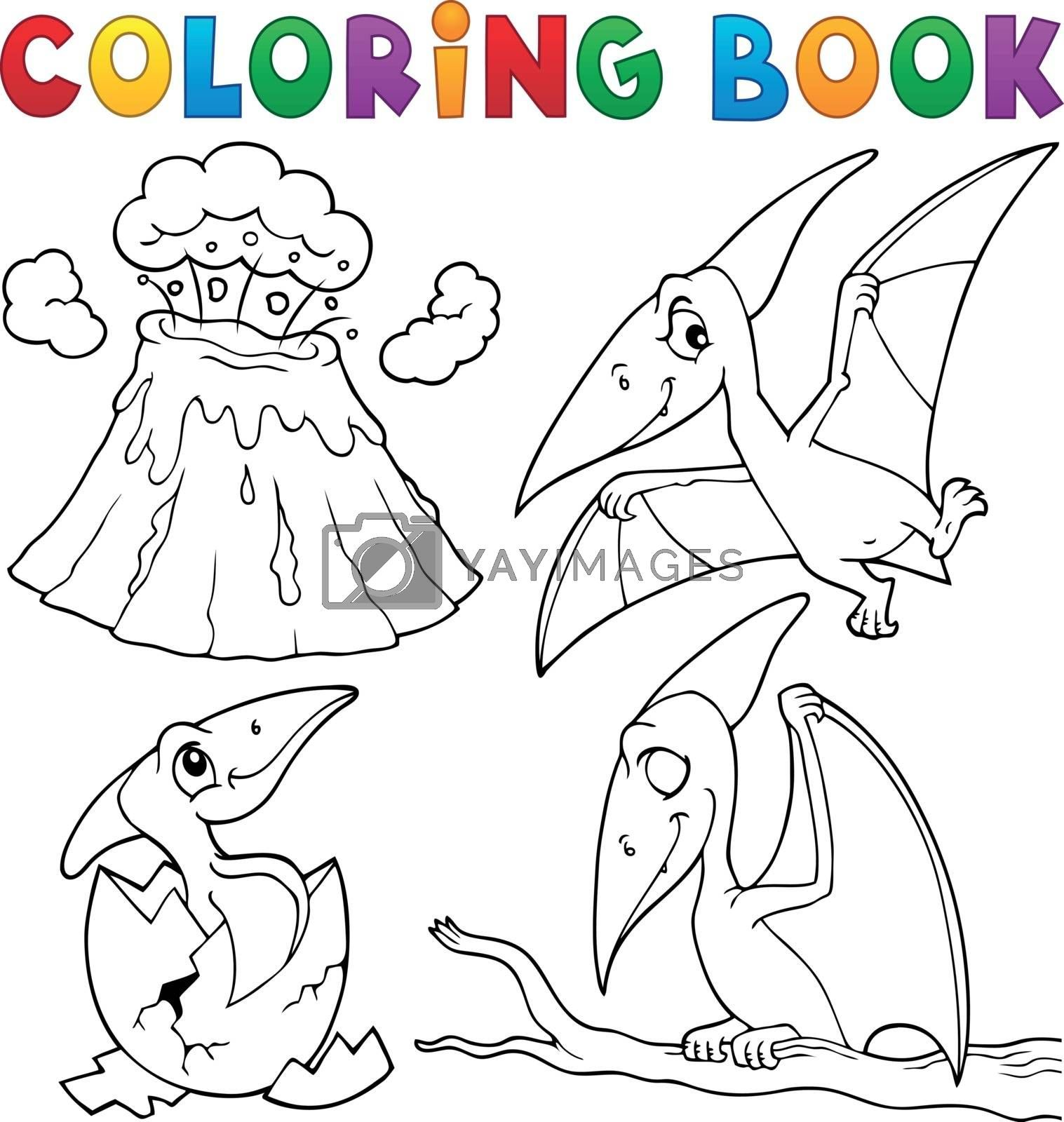 Coloring book pterodactyls theme set 1 - eps10 vector illustration.