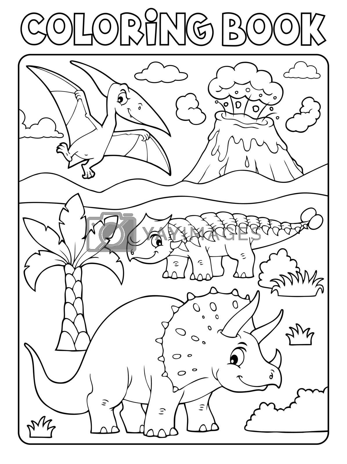 Coloring book dinosaur subject image 6 - eps10 vector illustration.
