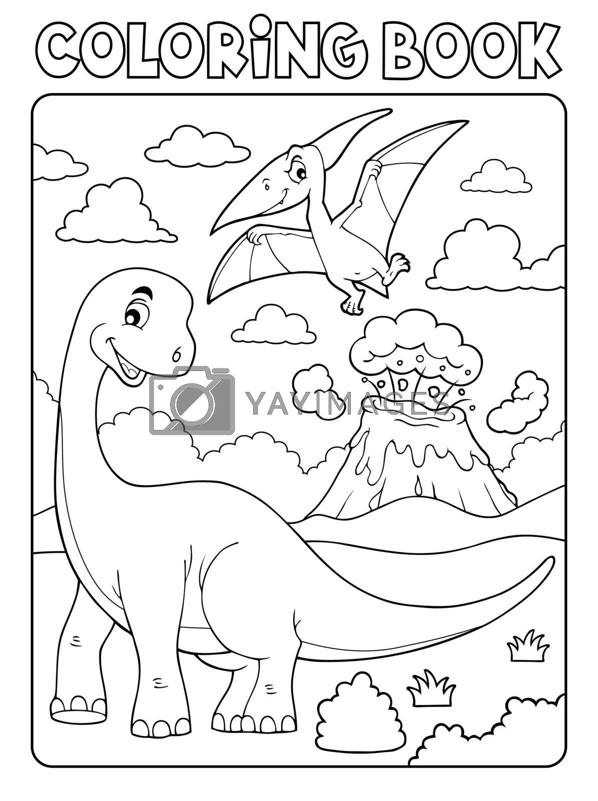 Coloring book dinosaur subject image 8 - eps10 vector illustration.