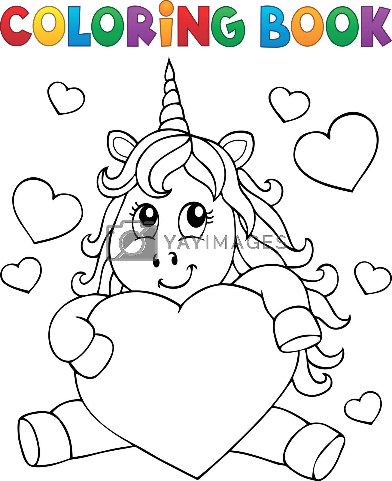 Coloring book Valentine unicorn theme 1 - eps10 vector illustration.