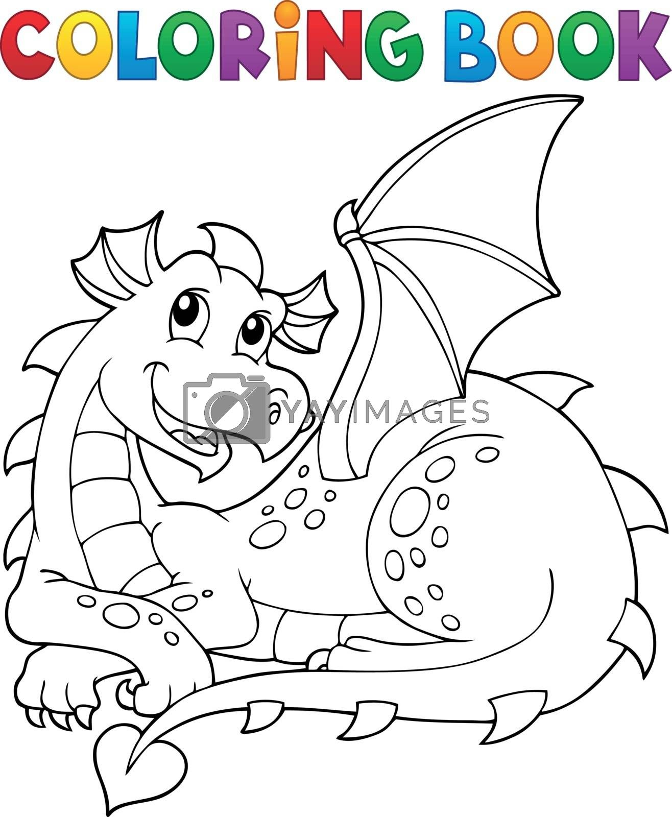 Coloring book lying dragon theme 1 - eps10 vector illustration.