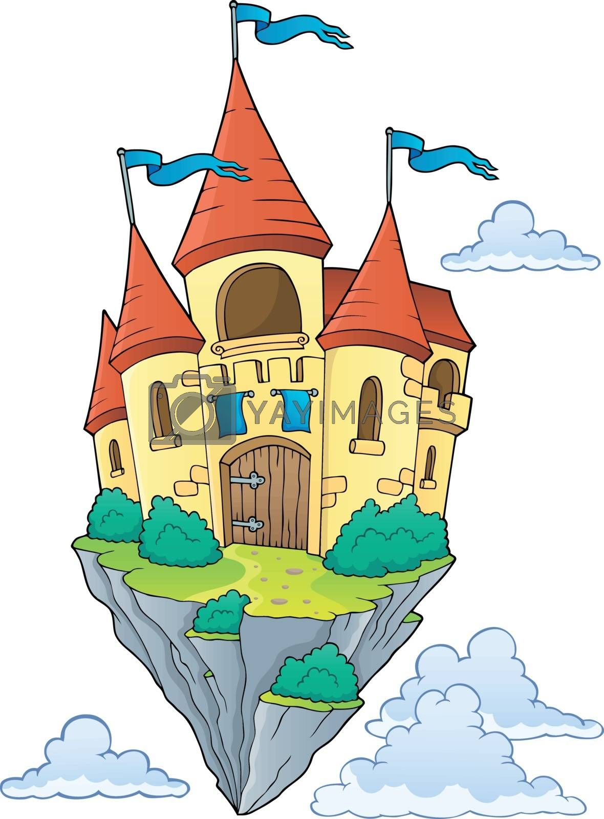 Flying castle theme image 1 - eps10 vector illustration.