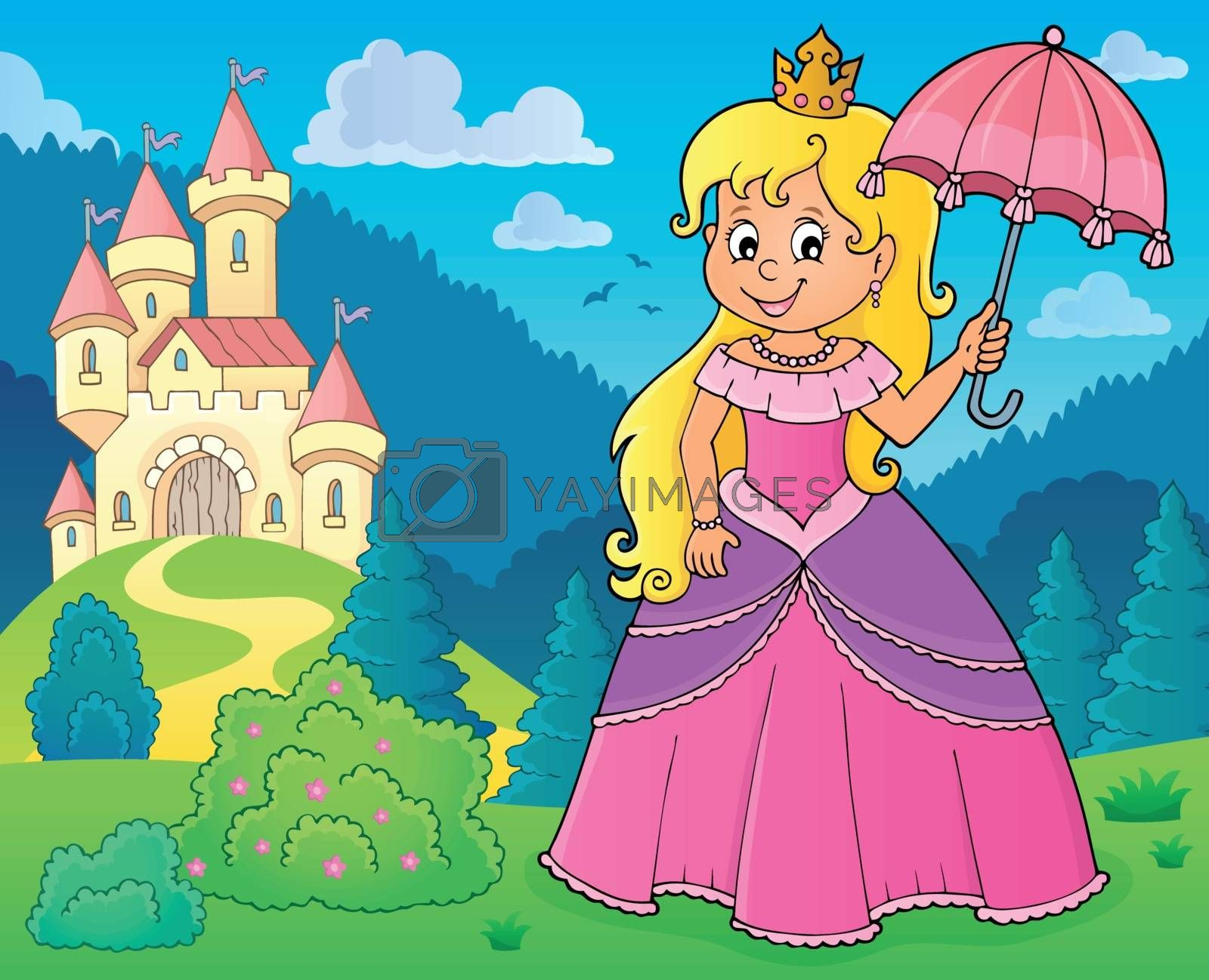 Princess with umbrella theme image 2 - eps10 vector illustration.