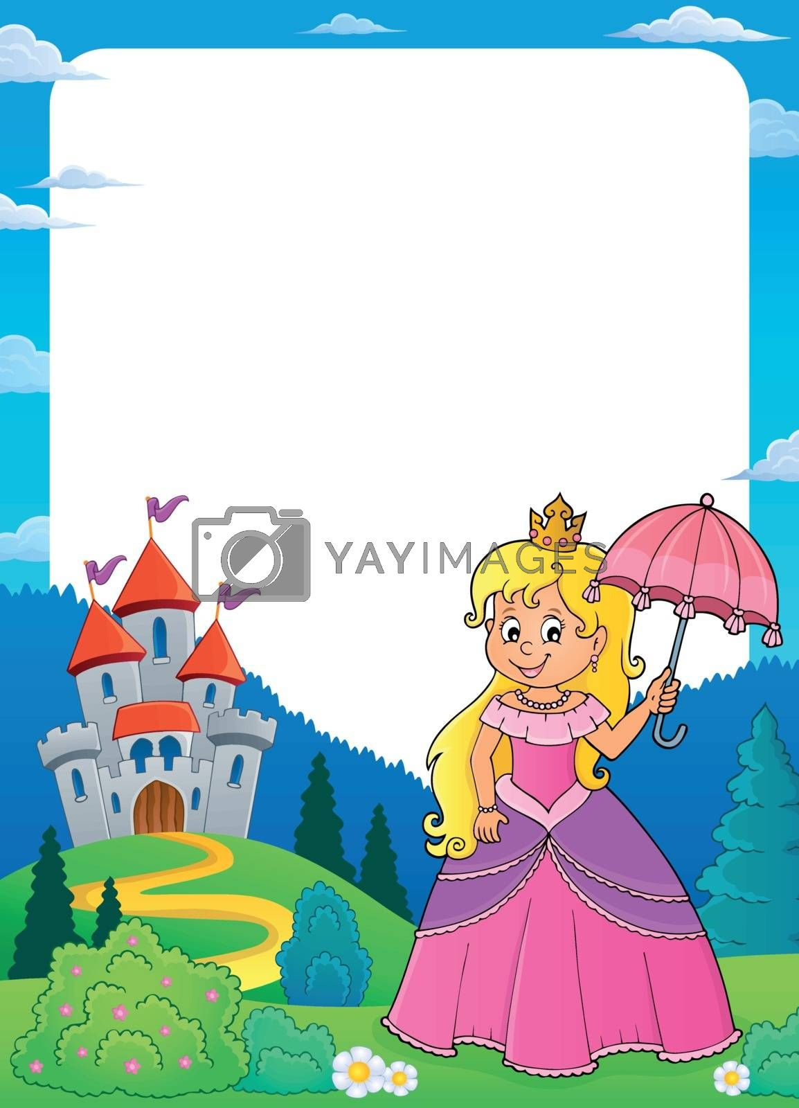 Princess with umbrella theme frame 1 - eps10 vector illustration.