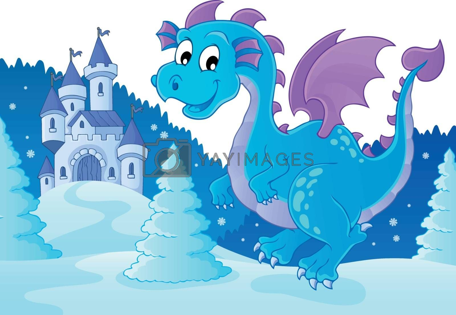 Winter dragon theme image 2 - eps10 vector illustration.