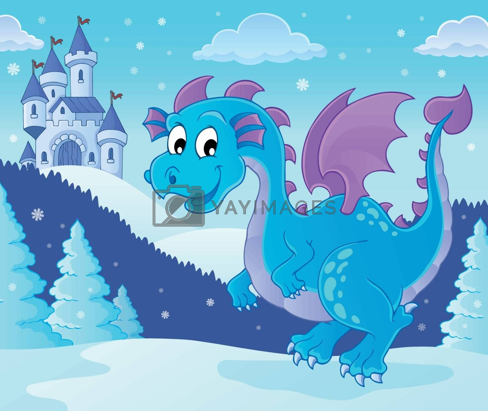 Winter dragon theme image 1 - eps10 vector illustration.