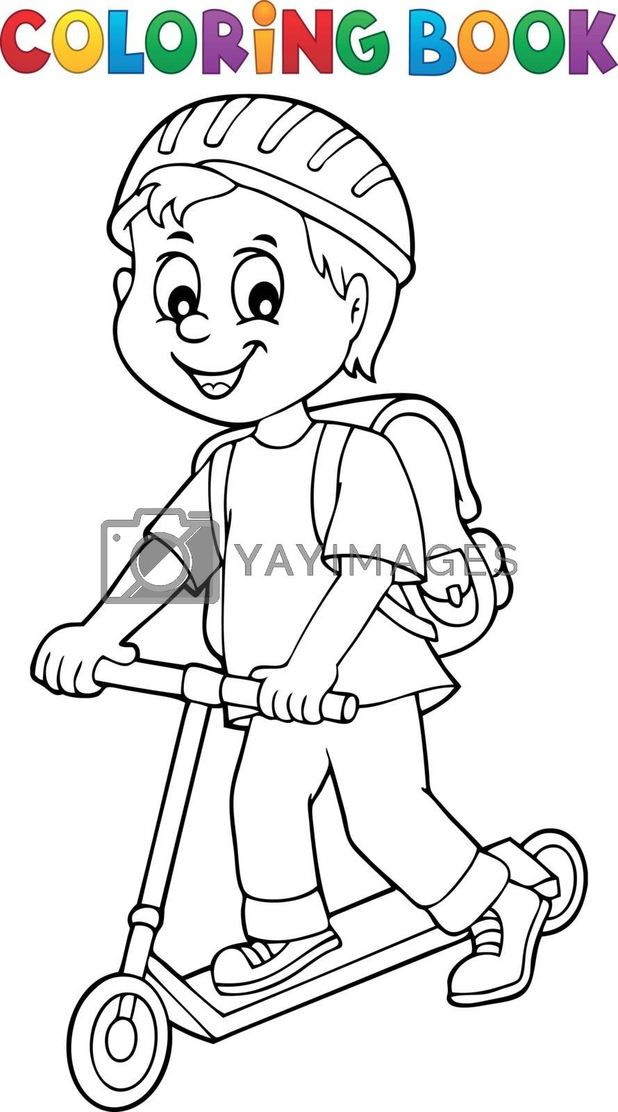 Coloring book boy on kick scooter theme 1 - eps10 vector illustration.