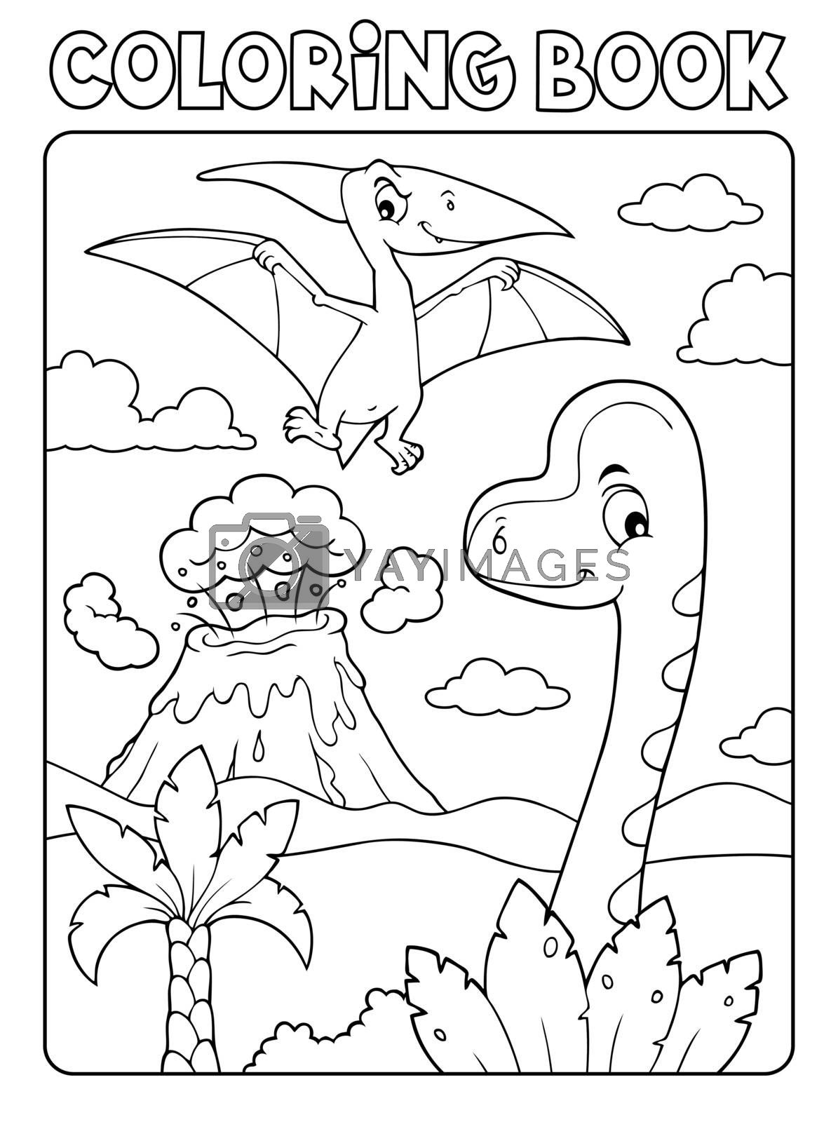 Coloring book dinosaur composition image 5 - eps10 vector illustration.