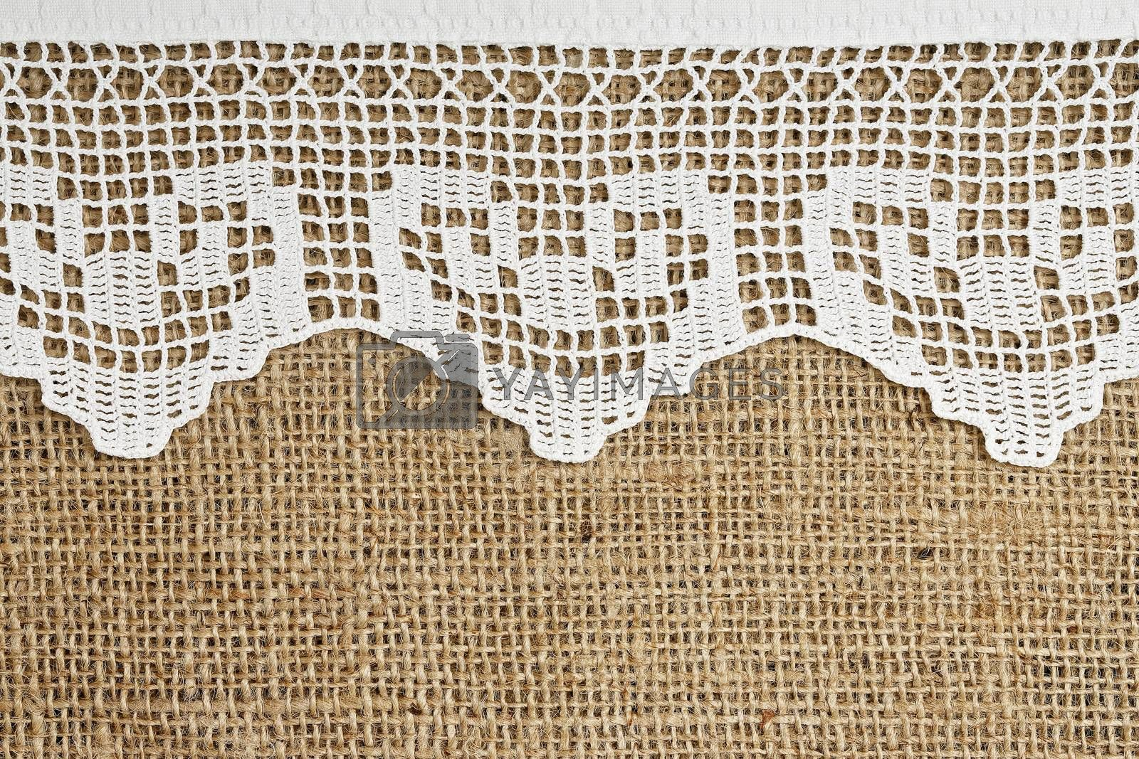 handmade lace on burlap for backgrounds