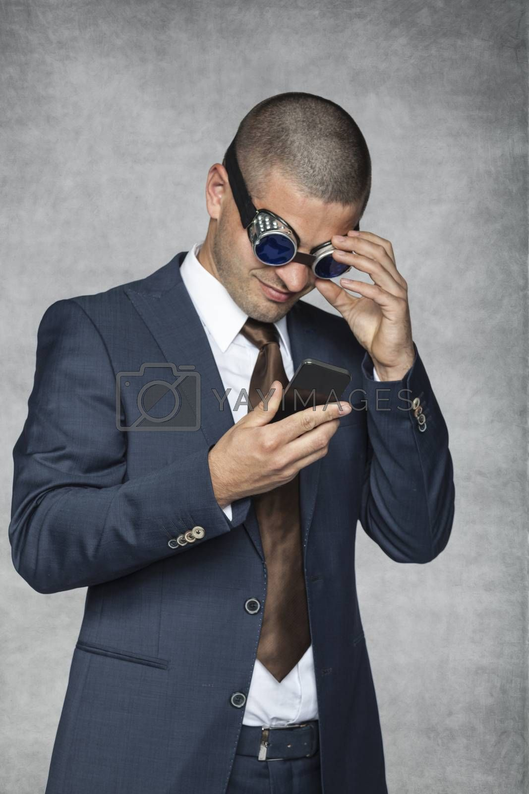 Royalty free image of businessman checking email by maselkoo99