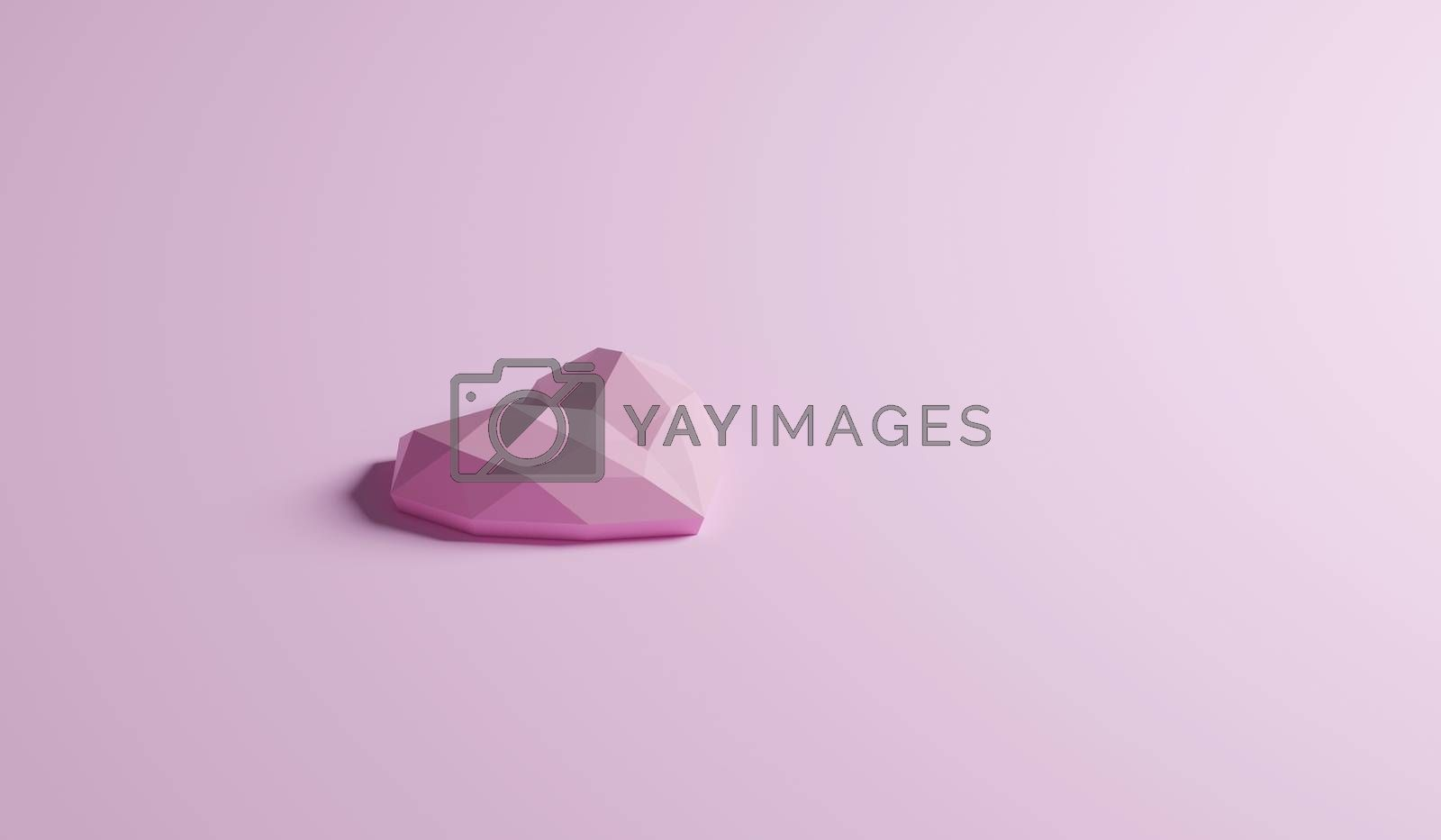 single geometric configuration of pink heart shaped isolated on sweet pastel pink color, side view with copy space. romantic valentine day background, 3d rendering