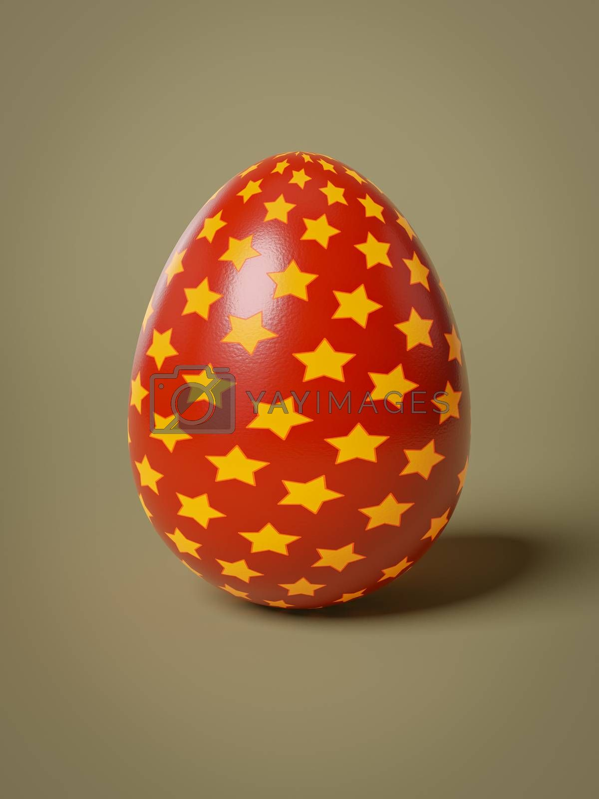 A red egg with yellow stars isolated 3D illustration