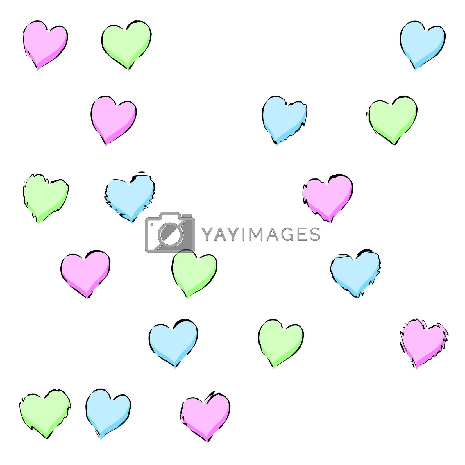 An illustration of a hearts pattern background