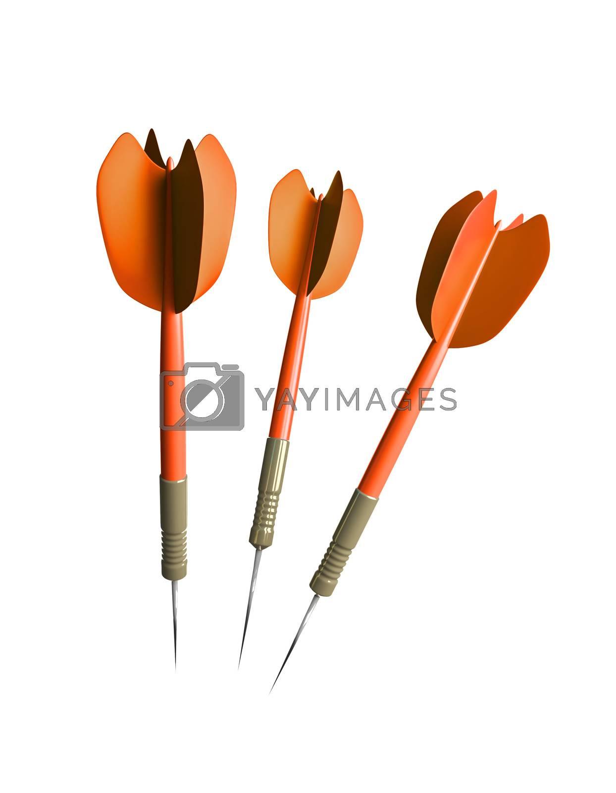 three orange typical darts arrows 3D illustration